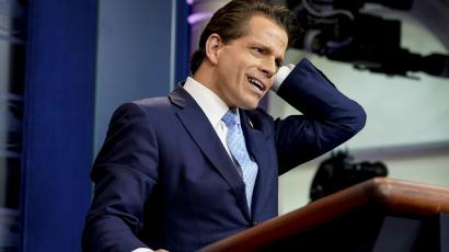 Anthony Scaramucci talking at White House press briefing.