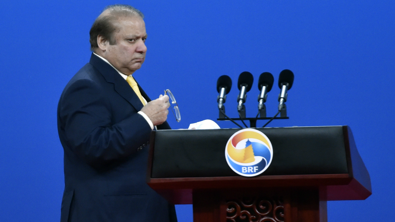 Pakistani Prime Minister Nawaz Sharif delivers a speech during the Plenary Session of High-Level Dialogue, at the Belt and Road Forum in Beijing, China May 14, 2017. The forum runs from 14 to 15 May.