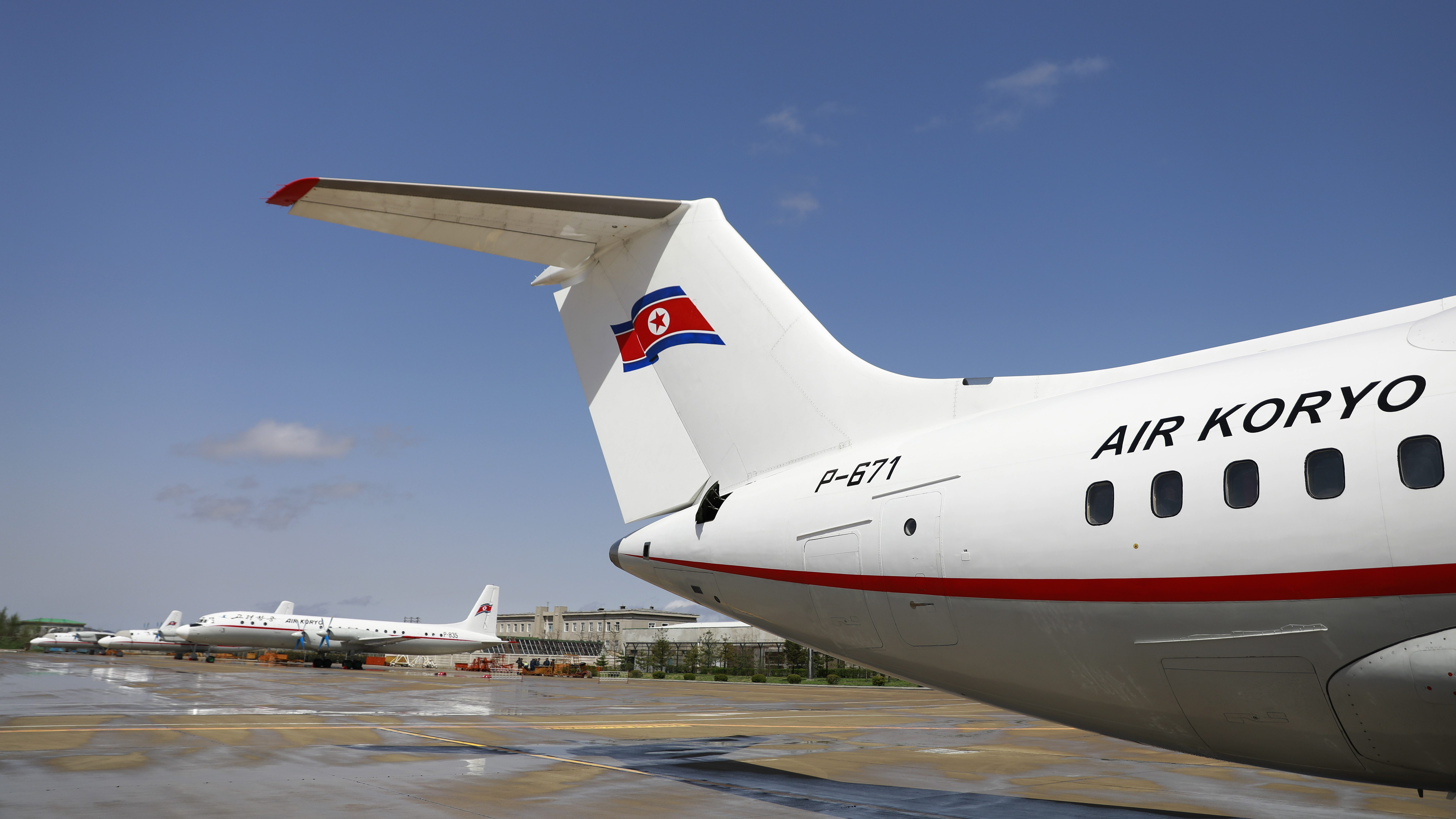 Air Koryo planes on the airport tarmac in Pyongyang, North Korea, 18 April 2017 (issued 25 April 2017). According to media reports on 25 April 2017, Air China is to resume service between Beijing and Pyongyang on 05 May 2017, amid growing speculations that the US may push for a global ban on Air Koryo, North Korea's state-owned national flag carrier airline.