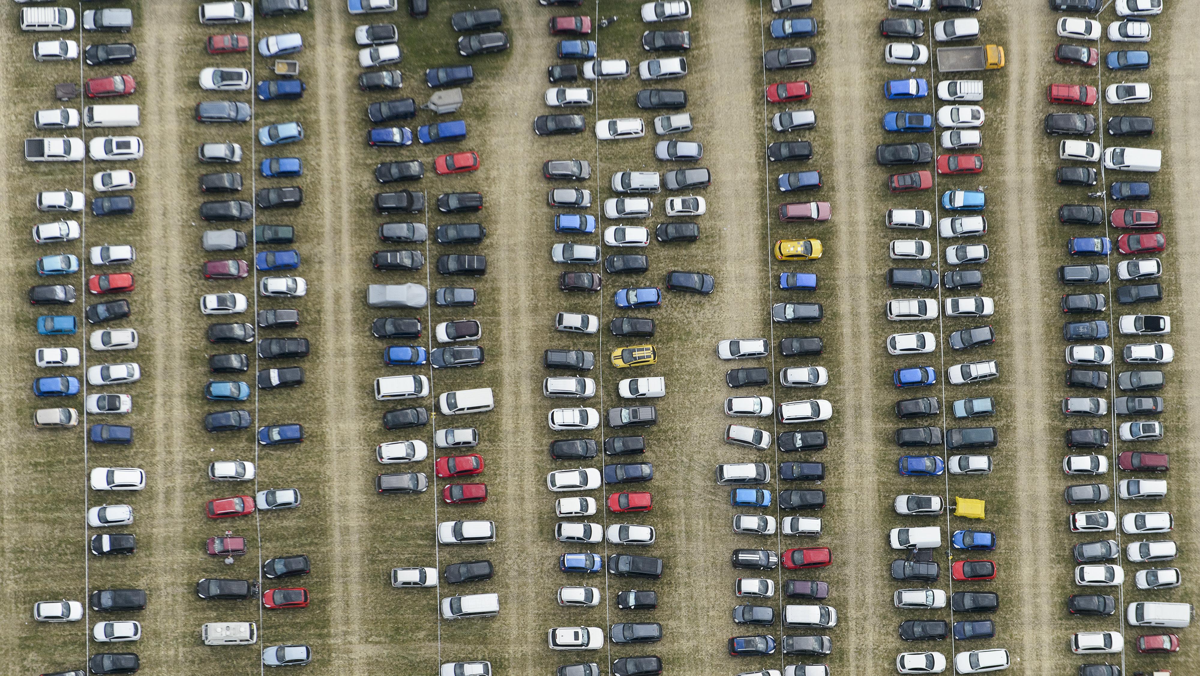 An overhead shot of a parking lot.