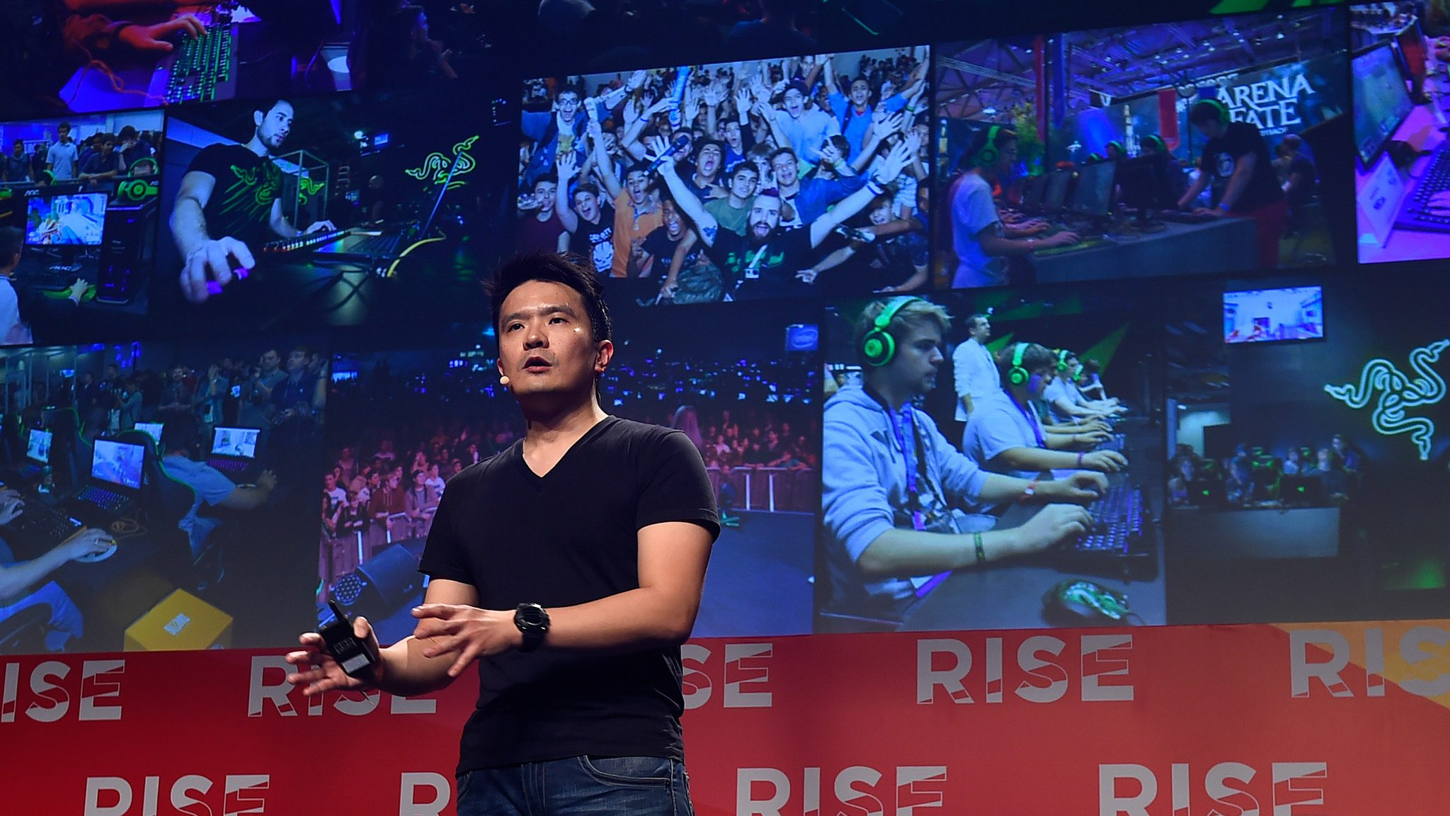 Razer co-founder Min-Liang Tan on stage at the RISE conference in Hong Kong, 2016