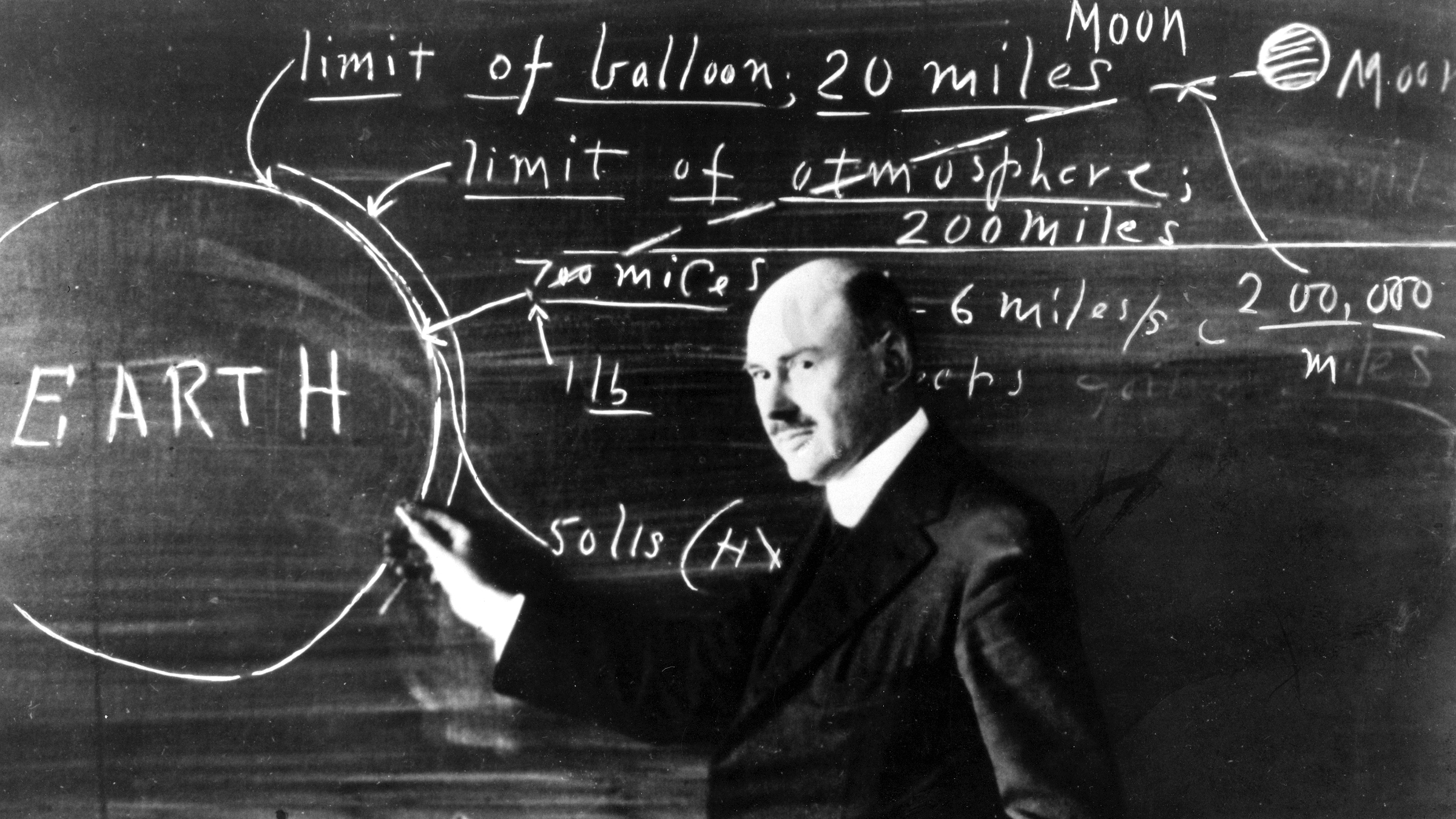 Robert Goddard, the father of liquid fueled rocketry, breaks down the problem.
