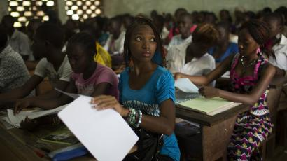 Students attend class at the Technical College of Bangui March 12, 2014.