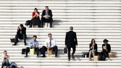 businessmen on steps