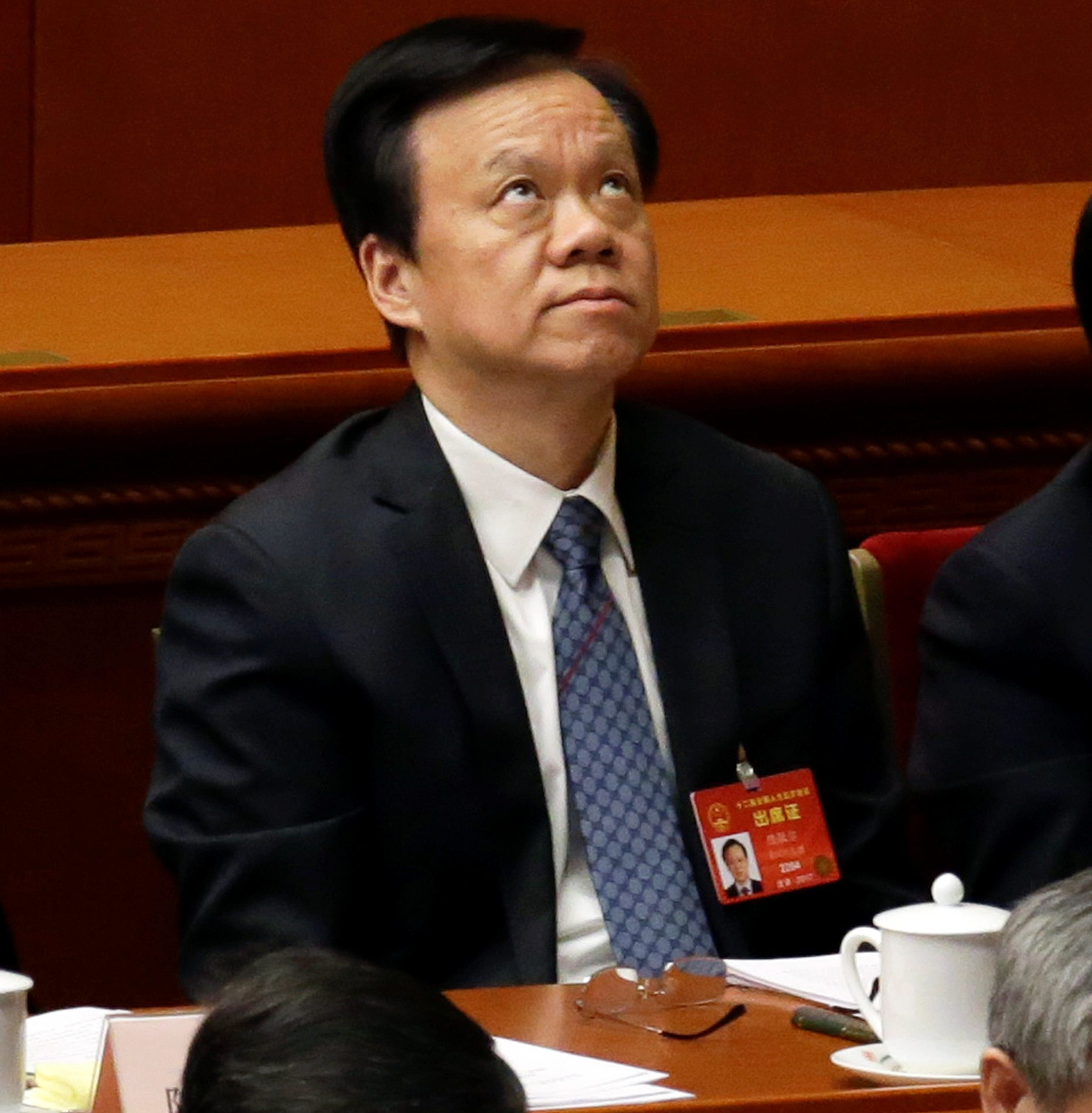 Guizhou Communist Party boss Chen Miner (C) attends the second plenary session of the National People's Congress (NPC) at the Great Hall of the People in Beijing, China, March 8, 2017.