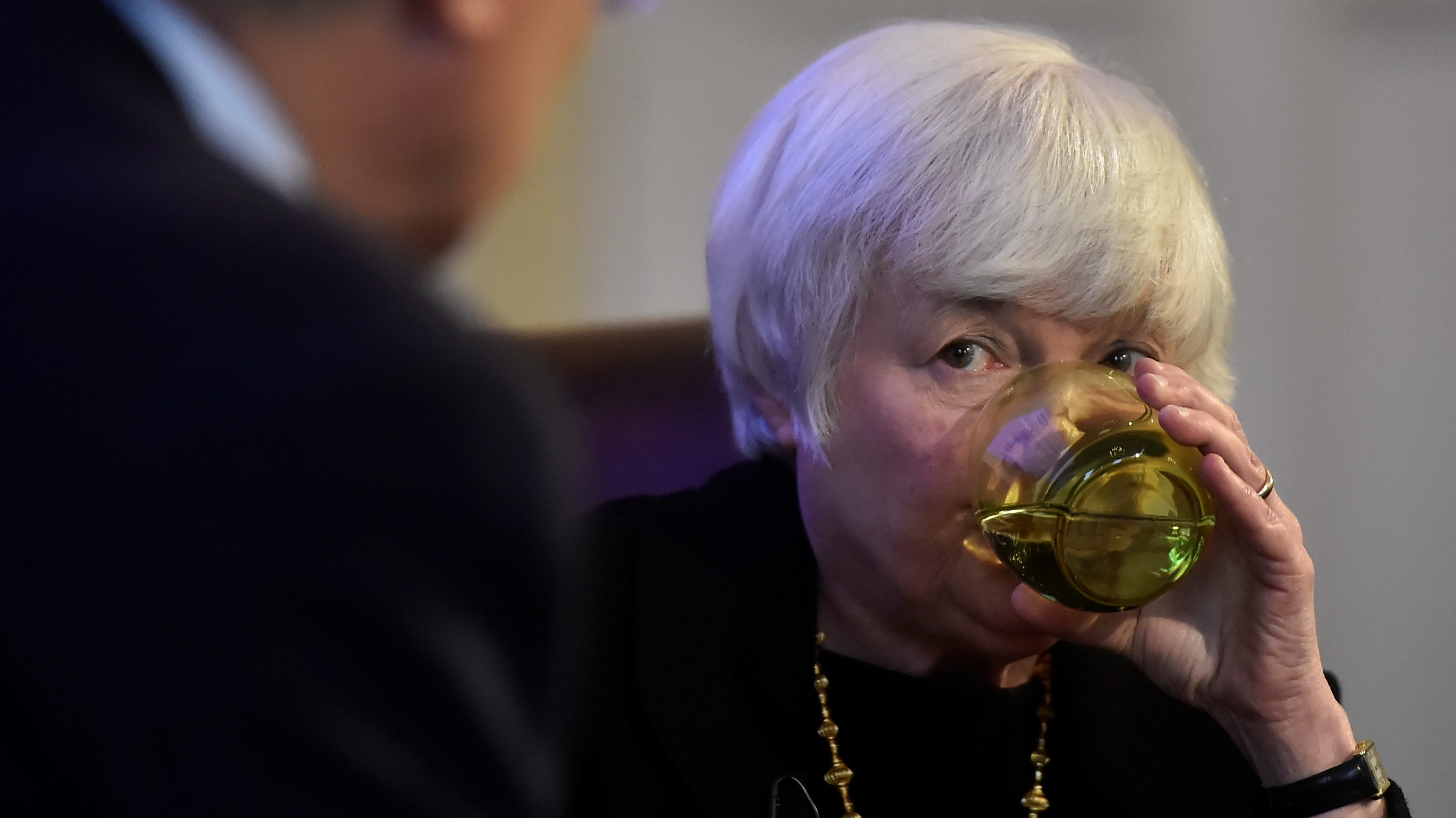 The Federal Reserve Board Chairwoman Janet Yellen sips water as she speaks during a discussion at The British Academy President's Lecture in London, Britain, June 27, 2017.