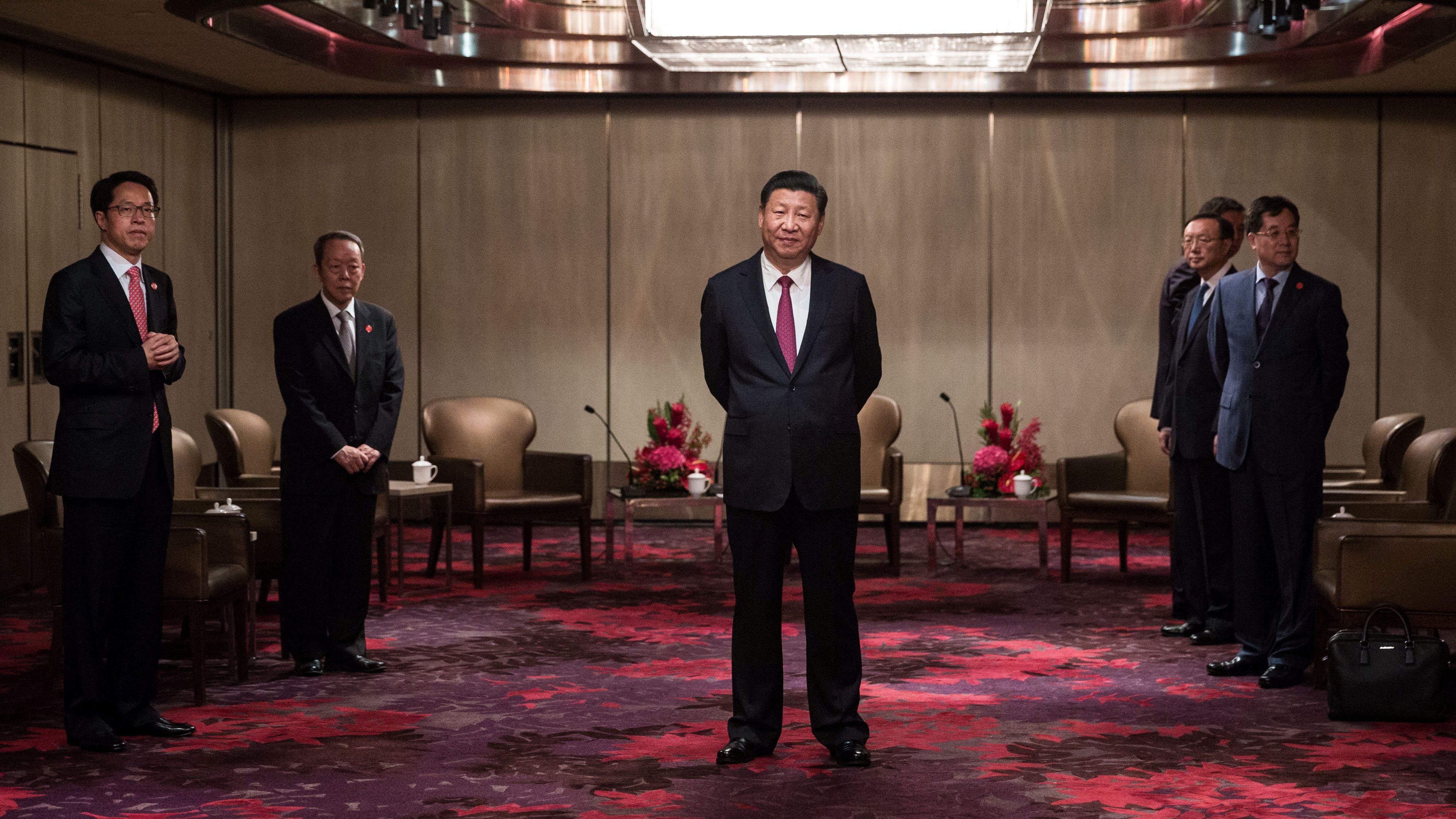 China's President Xi Jinping waits to meet with outgoing Hong Kong Chief Executive Leung Chun-ying at a hotel in Hong Kong, China, June 29, 2017.