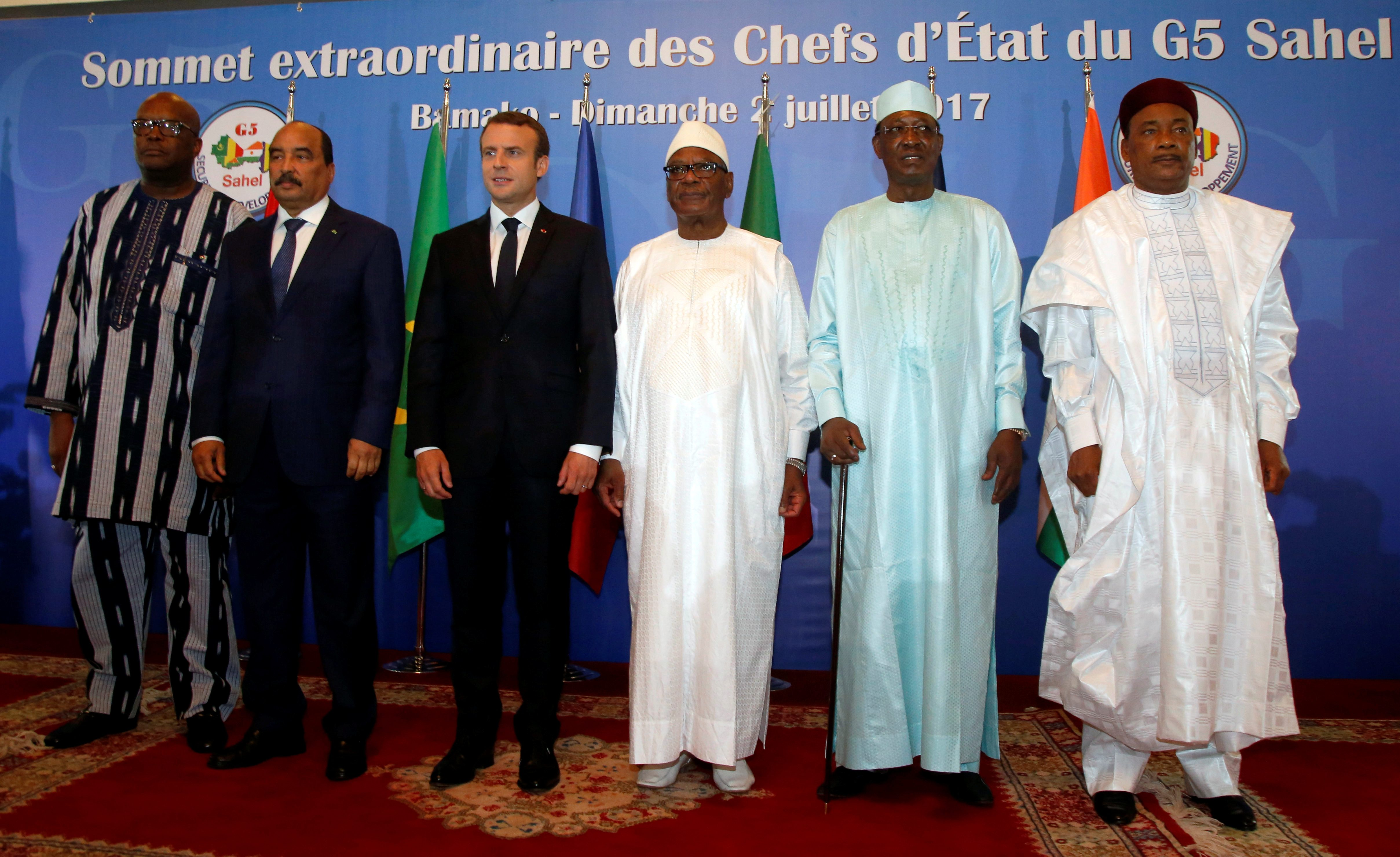 Presidents pose during G5 Sahel Summit at the Koulouba Presidential Palace in Bamako