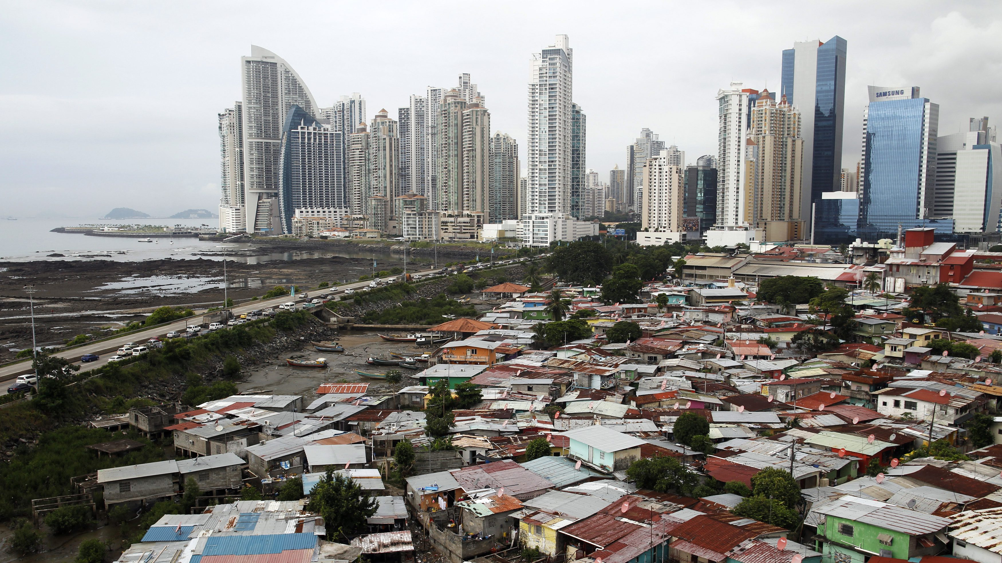 A general view of the low-income neighborhood known as Boca la Caja next to the business district in Panama City