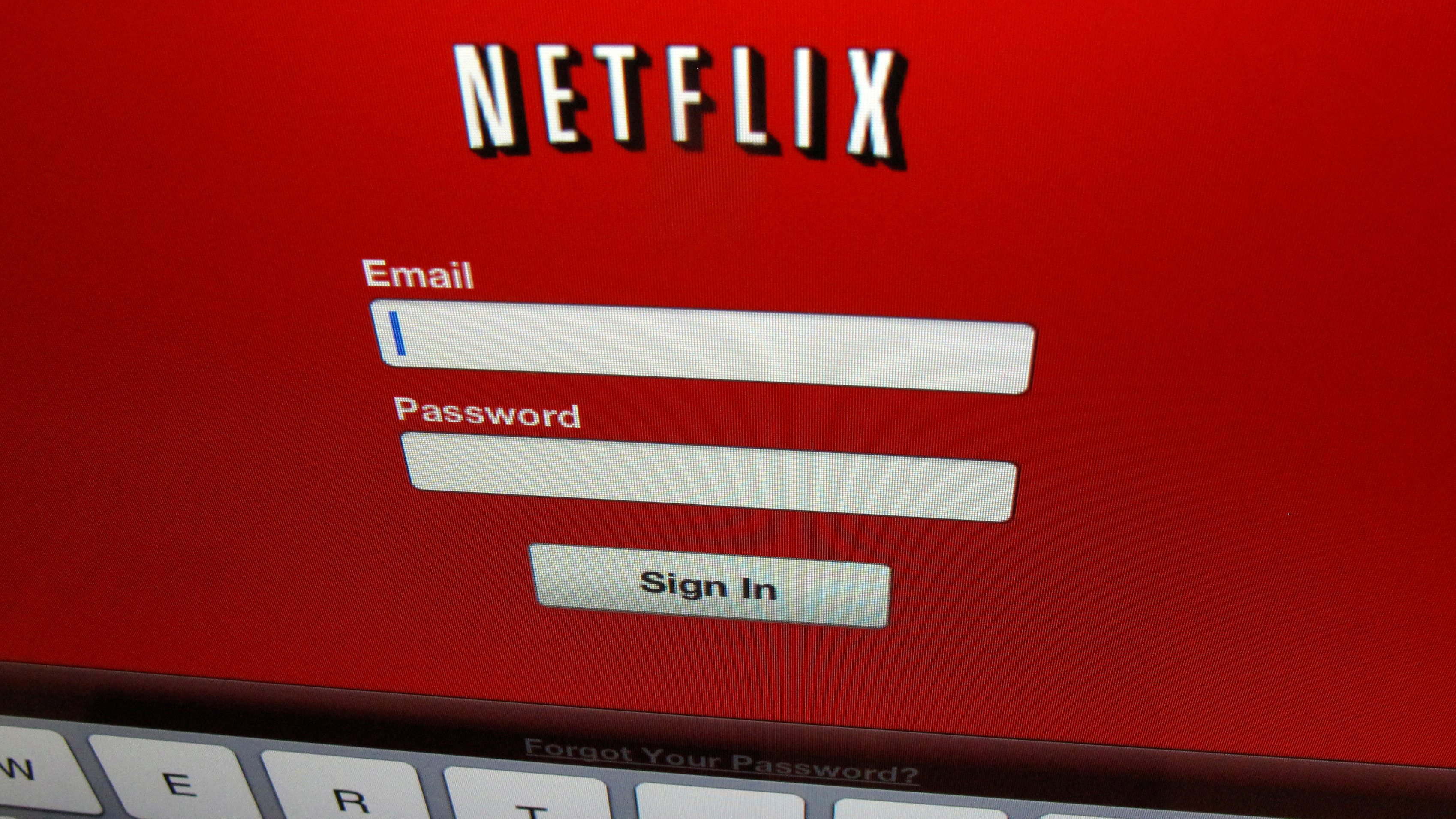 The Netflix sign on is shown on an iPad in Encinitas, California, April 19,2013. REUTERS/Mike Blake/File Photo        GLOBAL BUSINESS WEEK AHEAD PACKAGE    SEARCH BUSINESS WEEK AHEAD 17 OCT FOR ALL IMAGES - RTX2P3F7