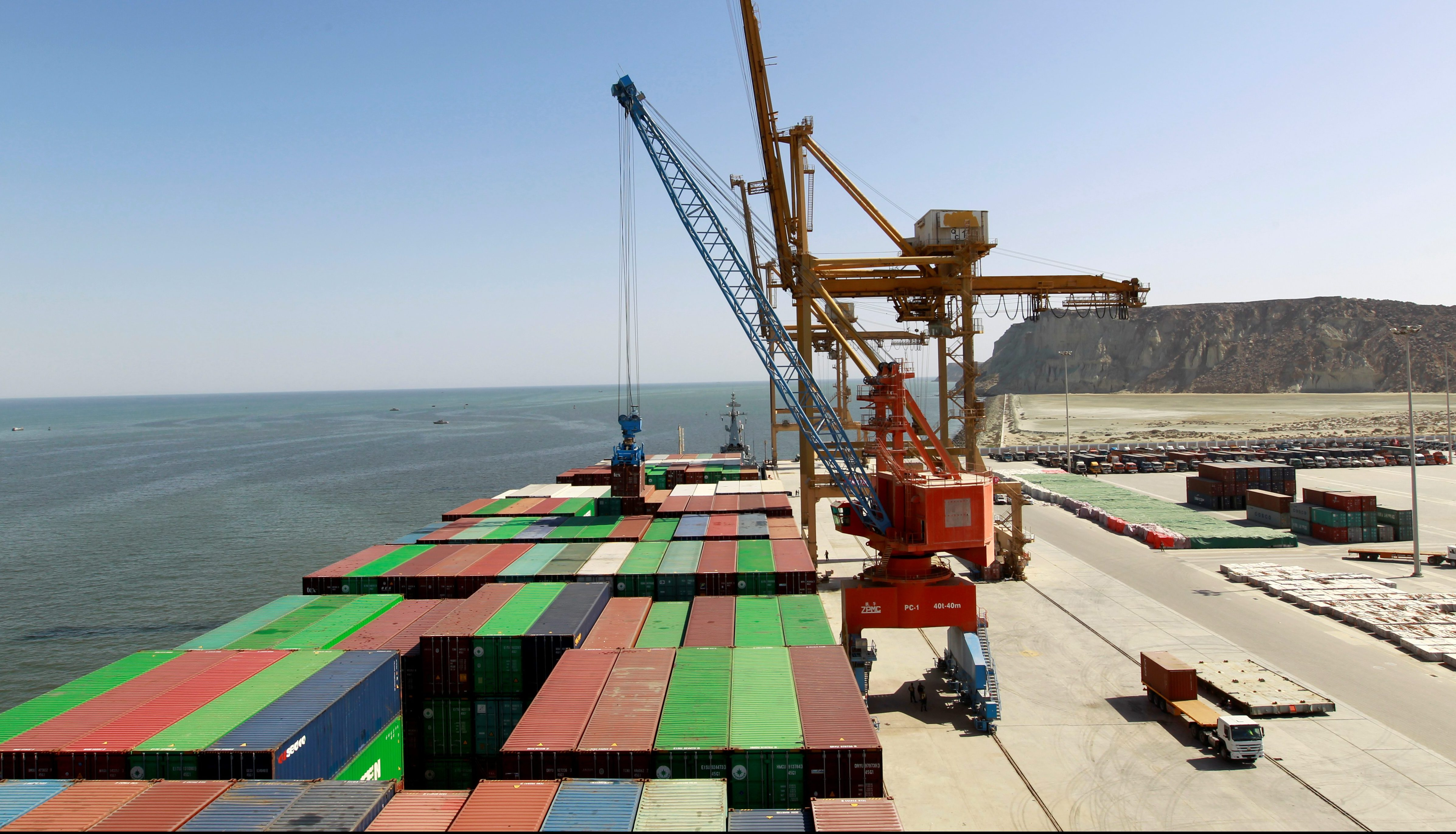 A container is loaded on to the Cosco Wellington, the first container ship to depart after the inauguration of the China Pakistan Economic Corridor port in Gwadar, Pakistan November 13, 2016.