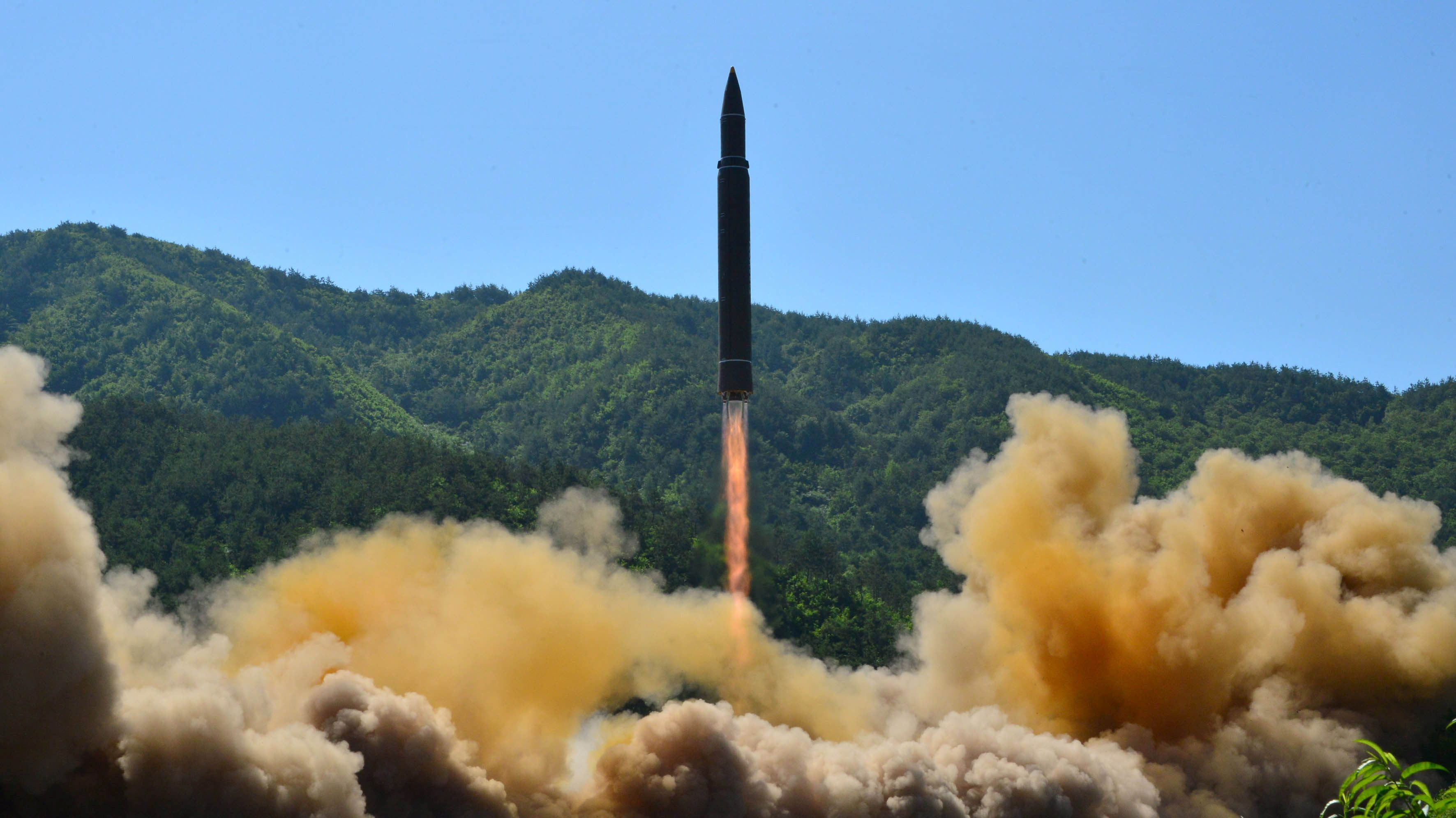 The intercontinental ballistic missile Hwasong-14 is seen during its test in this undated photo released by North Korea's Korean Central News Agency (KCNA) in Pyongyang, July 5 2017.