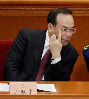 Chongqing Municipality Communist Party Secretary Sun Zhengcai attends the opening session of the Chinese People's Political Consultative Conference (CPPCC) at the Great Hall of the People in Beijing, China March 3, 2015. Picture taken on March 3, 2015.