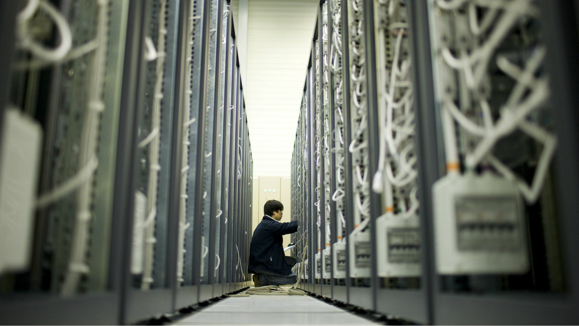 A scientist performs maintenance at a data center