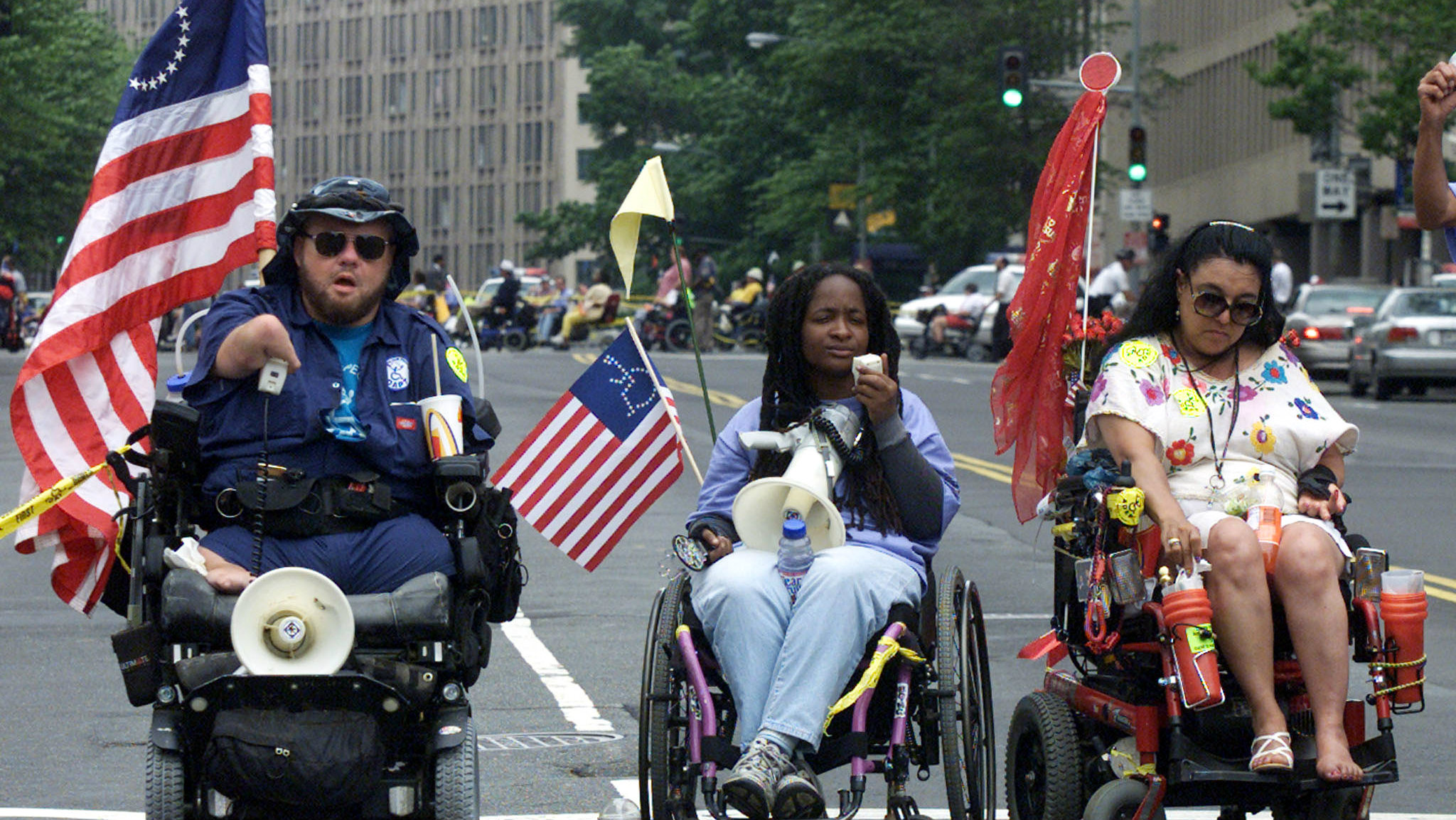 Anita Cameron (center) at an ADAPT protest in Washington, DC in 2002.