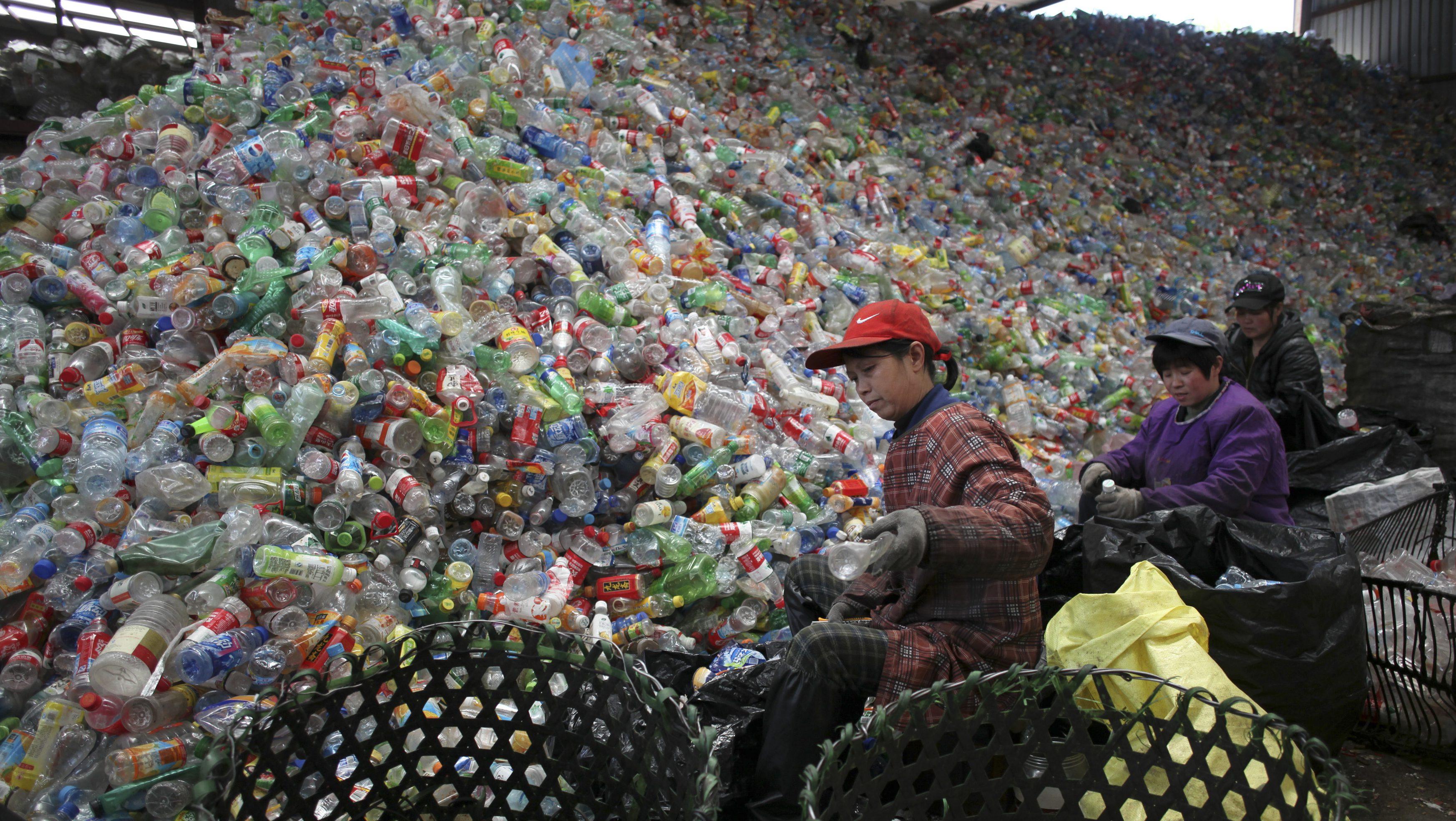 Pile of plastic bottles in Beijing, China