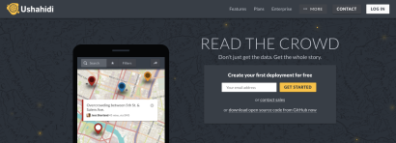 Front page of Ushahidi's website