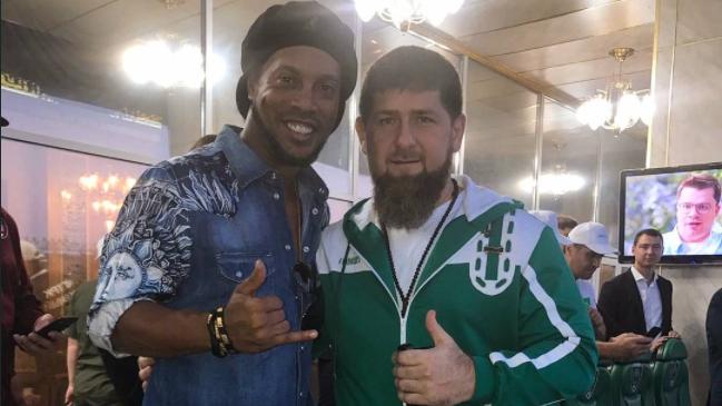 Ronaldinho met Kadyrov in Chechnya's capital, Grozny.
