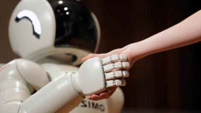 shaking hand with a robot