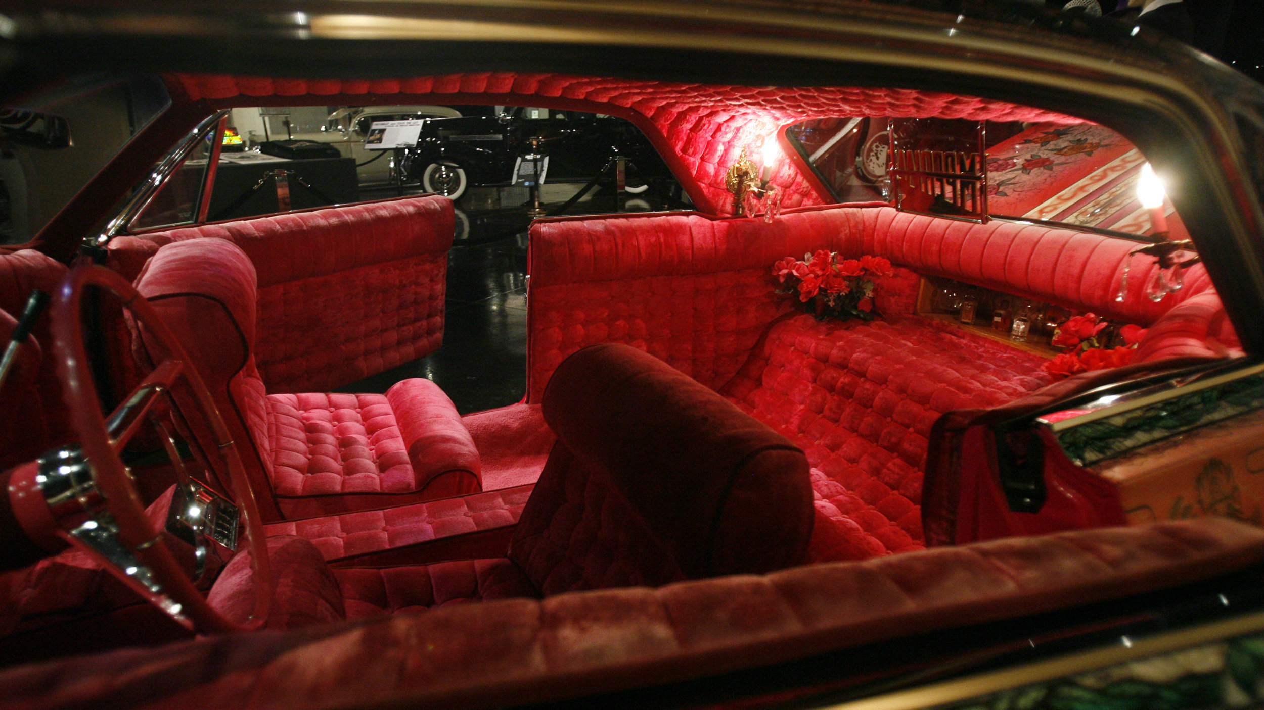 Inside of a customized 1964 Chevy Impala.