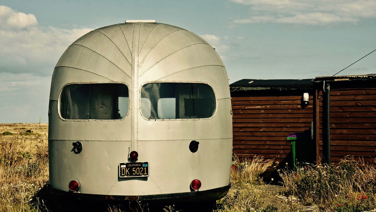 Airstream trailer in country.