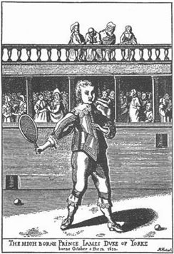 Image of tennis player from 1600s.
