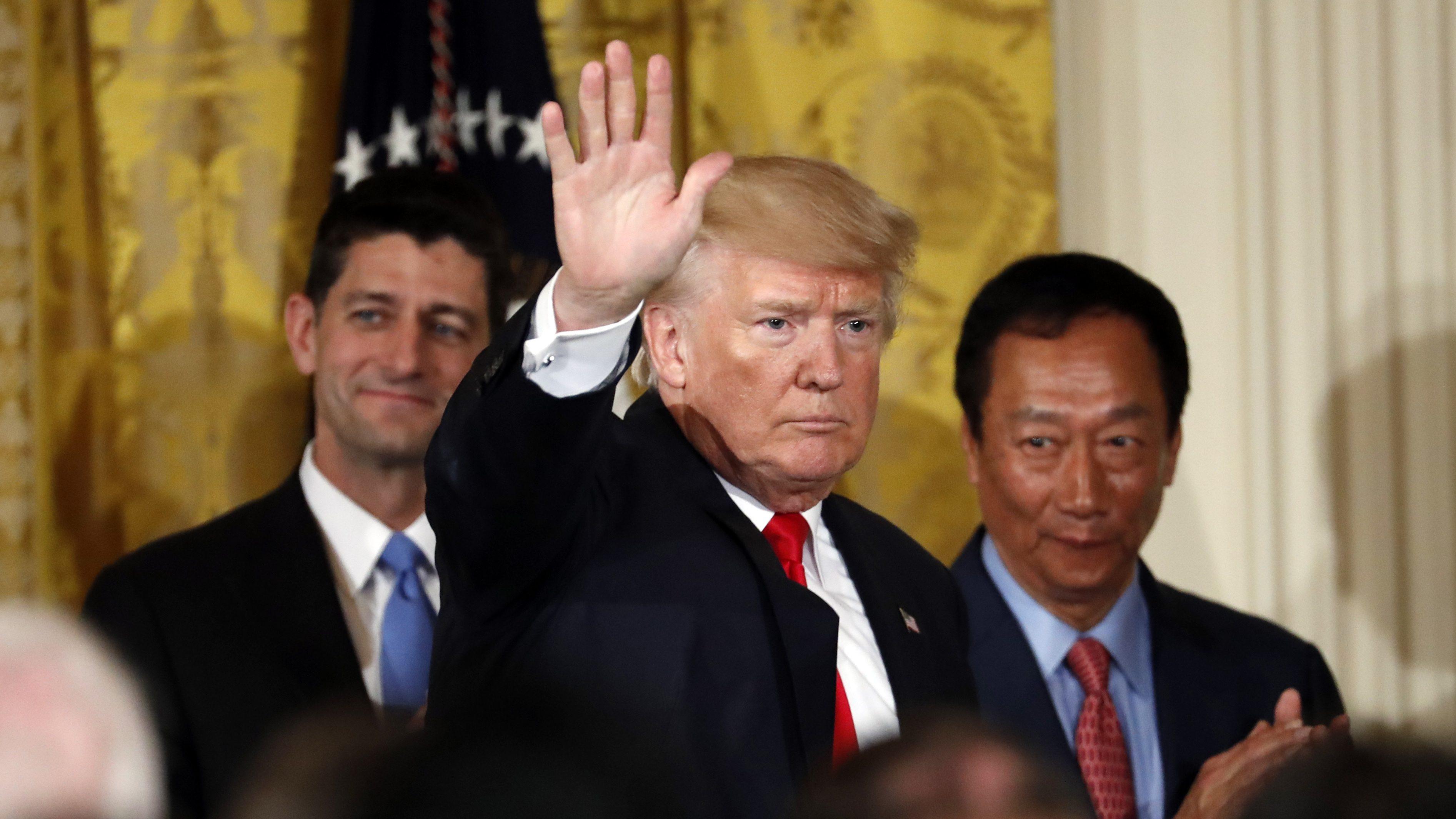 President Donald Trump,  House Speaker Paul Ryan, and Terry Gou
