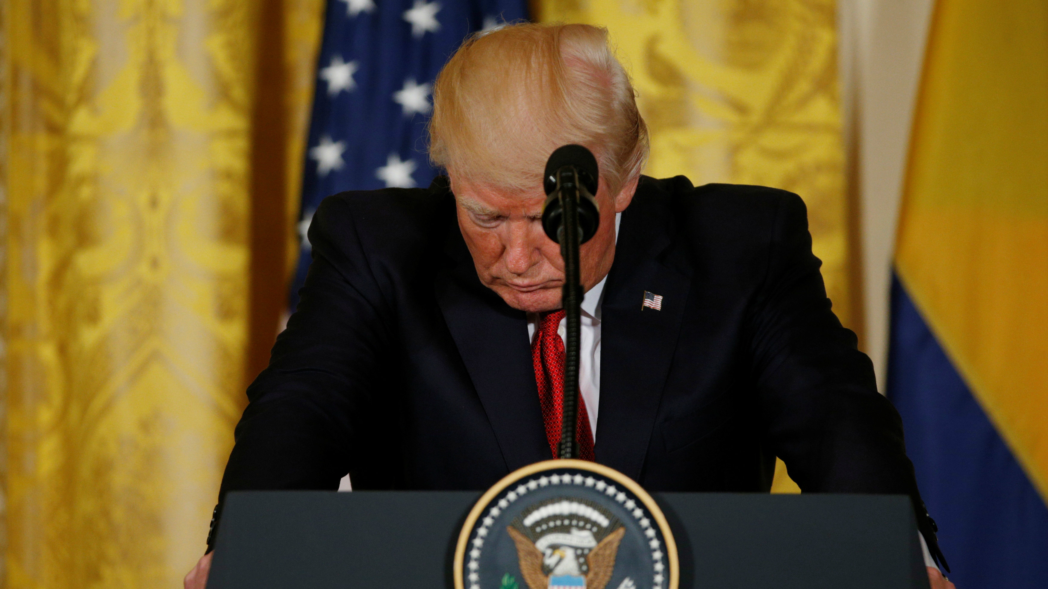 US President Donald Trump at a press conference at the White House