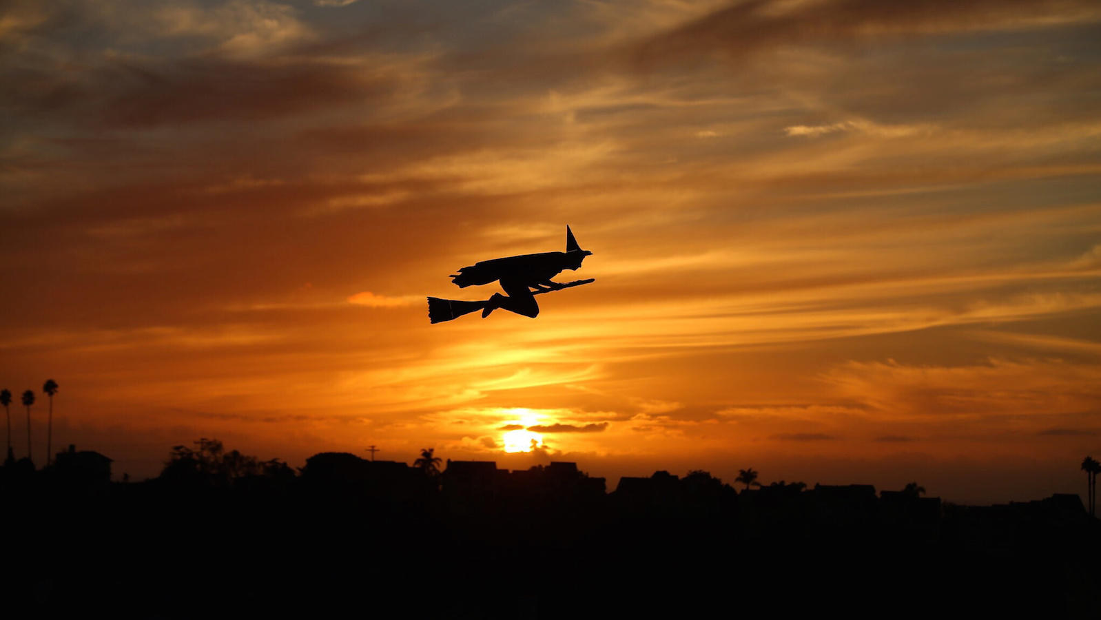 A remote-controlled plane in the form of a witch flies over a neighborhood as the sun sets during Halloween in Encinitas, California, U.S. October 31,2016.