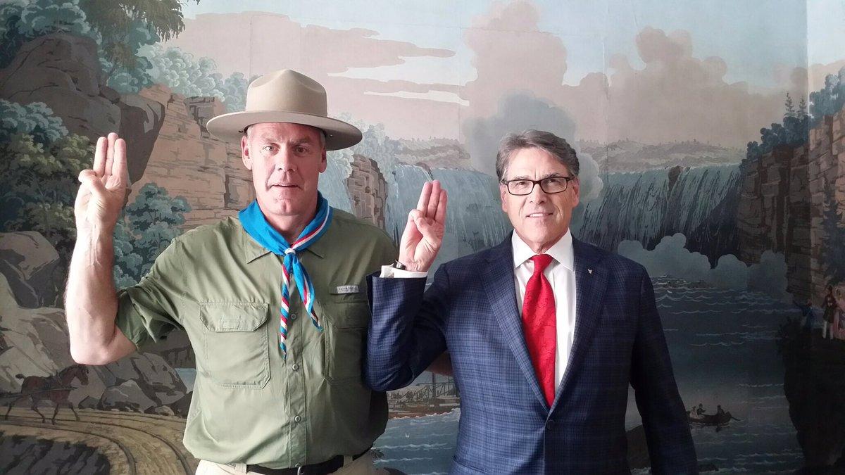 Secretary of the Interior Ryan Zinke cos-playing next to Energy Secretary Rick Perry.