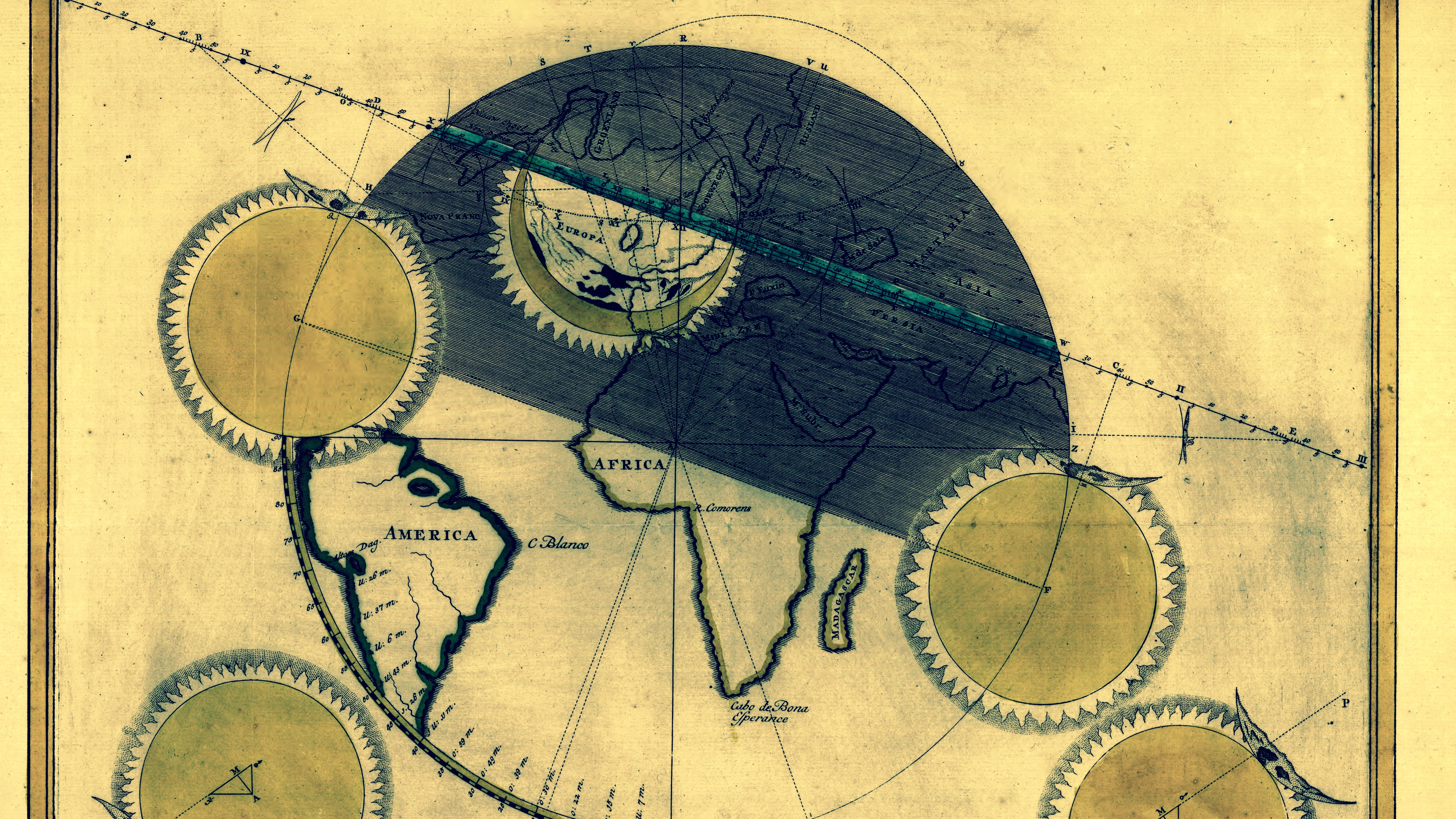 July 25, 1748 eclipse map by Simon Panser.