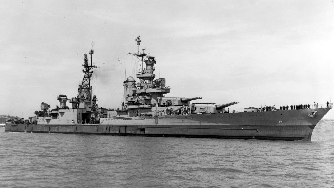 The USS Indianapolis is pictured in Mare Island Navy Yard, California, 10 July 1945, a few weeks before sinking.