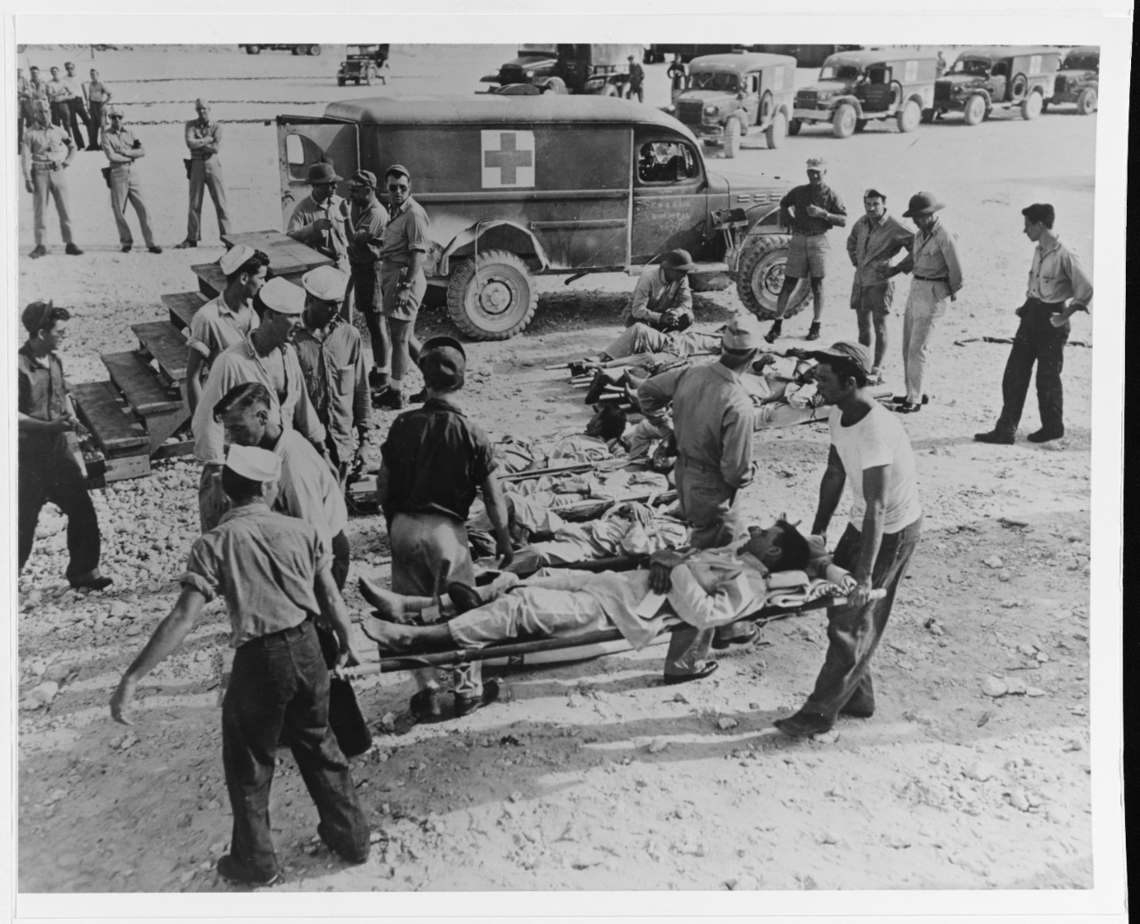 Indianapolis' survivors en route to a hospital following their rescue, circa early August 1945.