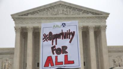 Protest sign in support of affirmative action outside of the Supreme Court.