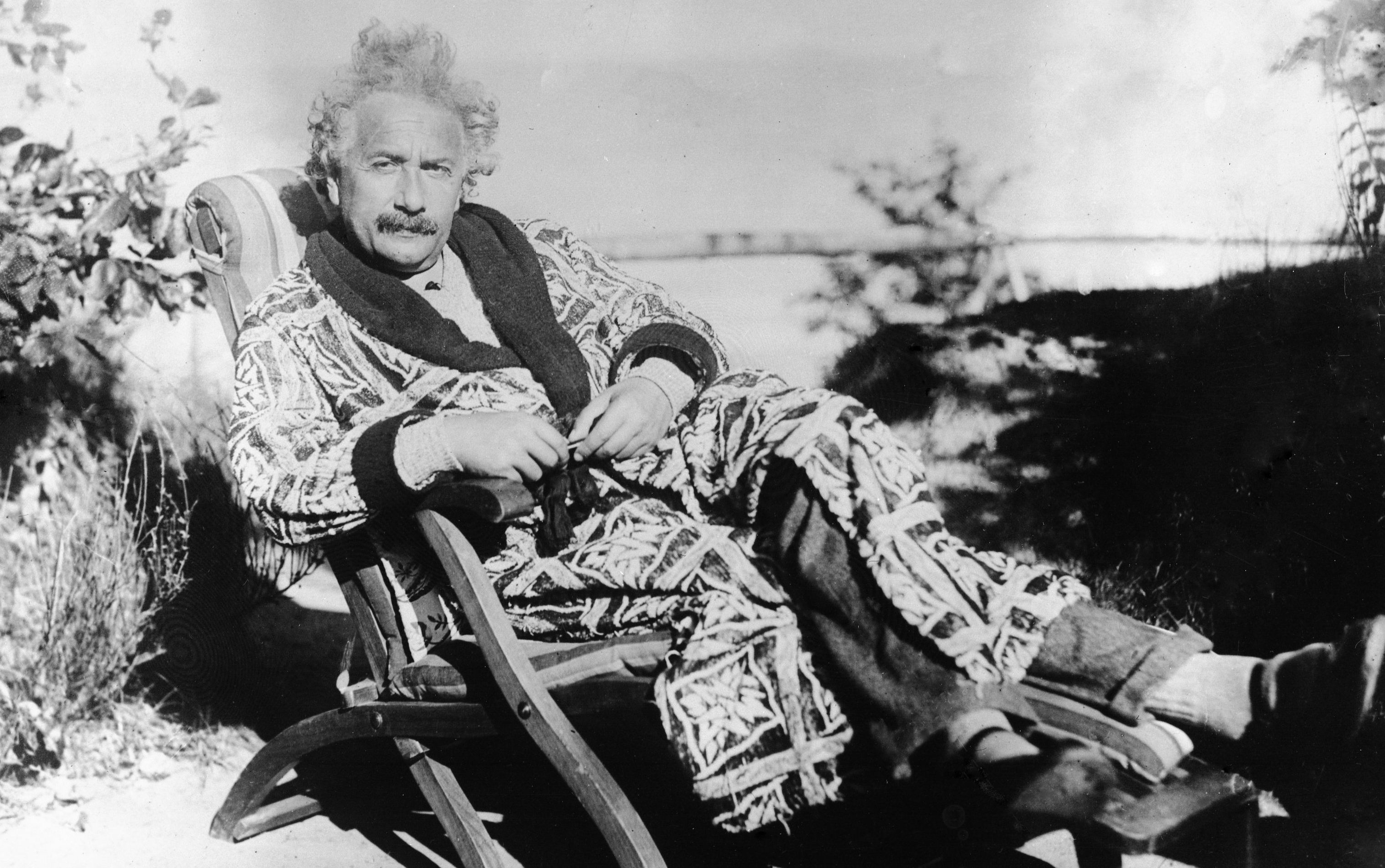 German born scientist Albert Einstein resting in the garden of his villa on the Bay of Luebeck, on Sept. 24, 1928. (AP Photo)