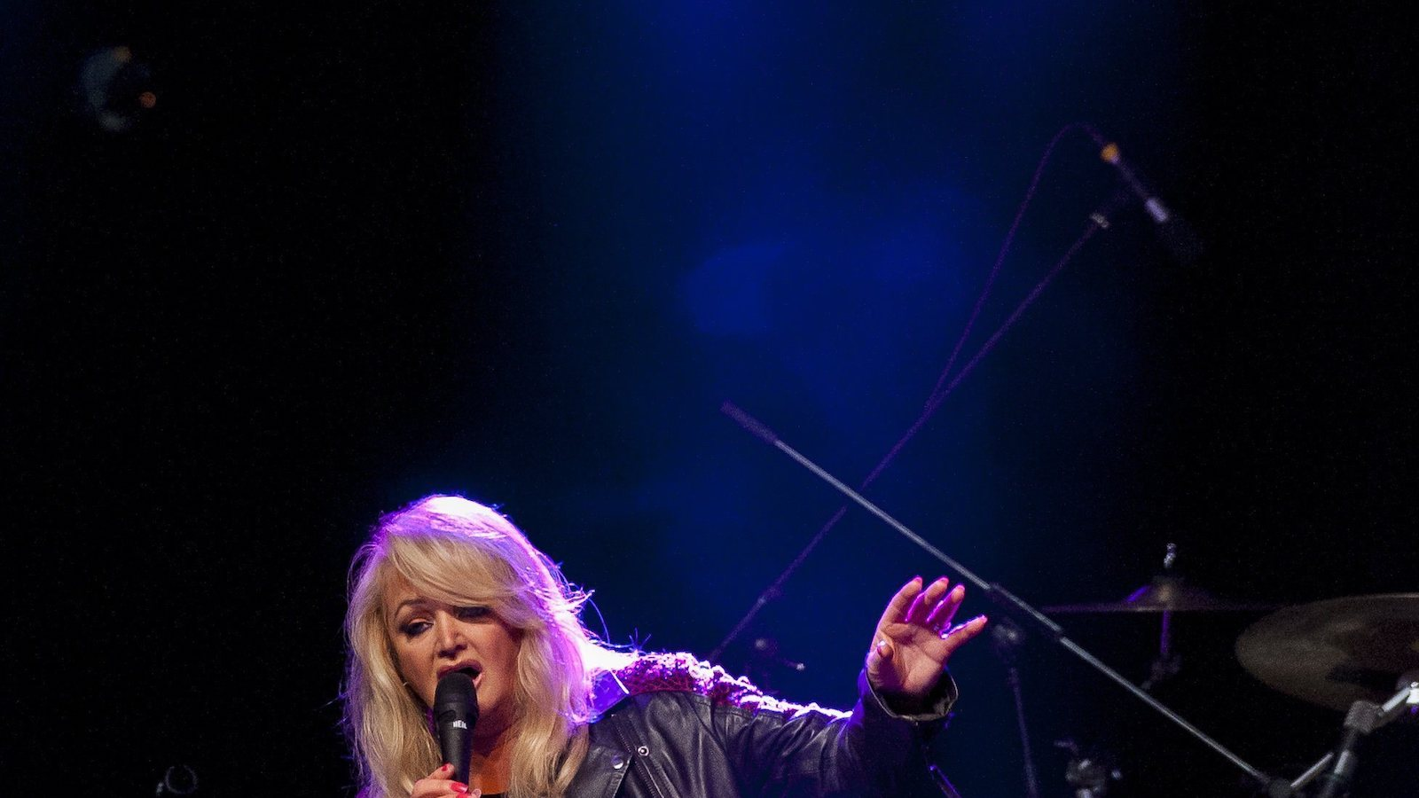Welsh rock singer and songwriter Bonnie Tyler performs during her concert in Debrecen, 226 kms east of Budapest, Hungary, Saturday, June 18, 2016. (Zsolt Czegledi/MTI via AP)