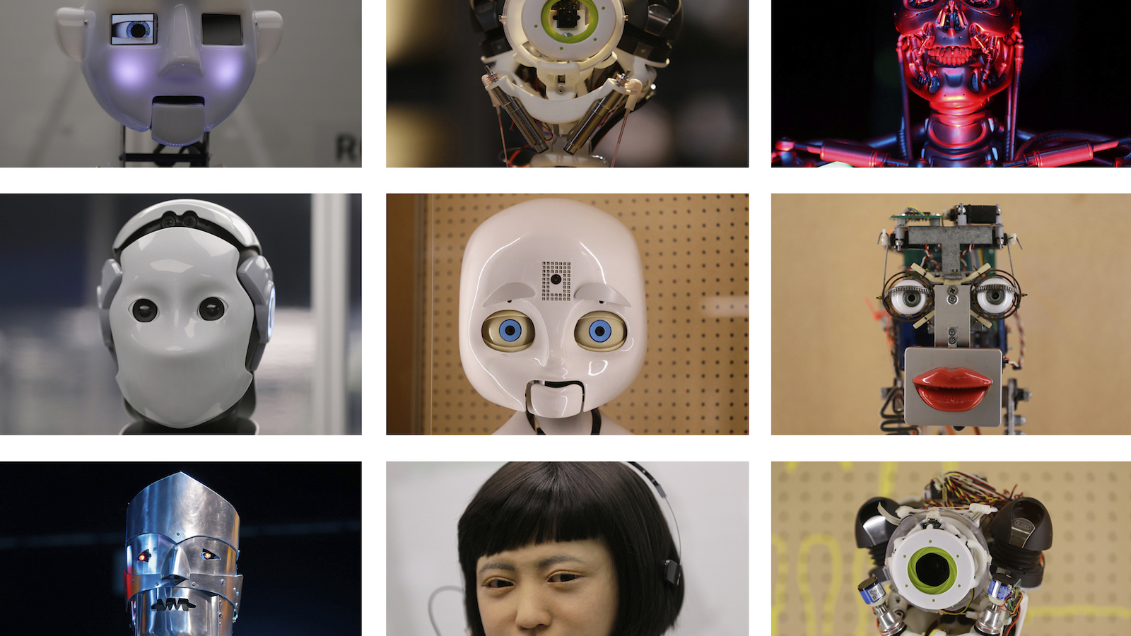 This combination photo shows a selection of robot faces, from futuristic comic book to life like newsreaders, on display during a press preview for the Robots exhibition held at the Science Museum in London, Tuesday, Feb. 7, 2017. The exhibition which shows 500 years of mechanical and robotic advances is open to the public form Feb. 8 through to Sept. 3. (AP Photo/Alastair Grant)