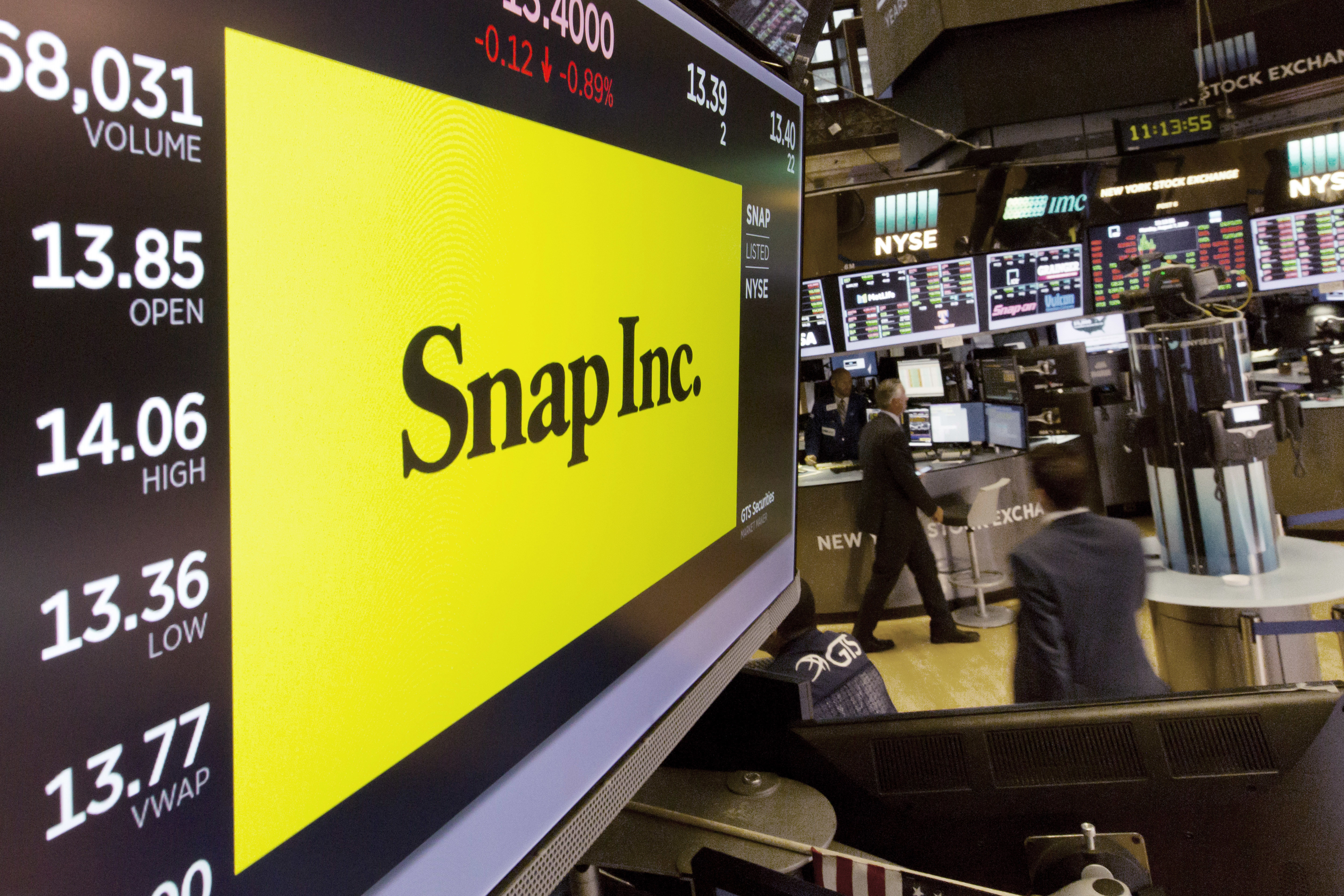 The Snap Inc. logo appears on a screen above a trading post on the floor of the New York Stock Exchange, Monday, Aug. 7, 2017. (AP Photo/Richard Drew)