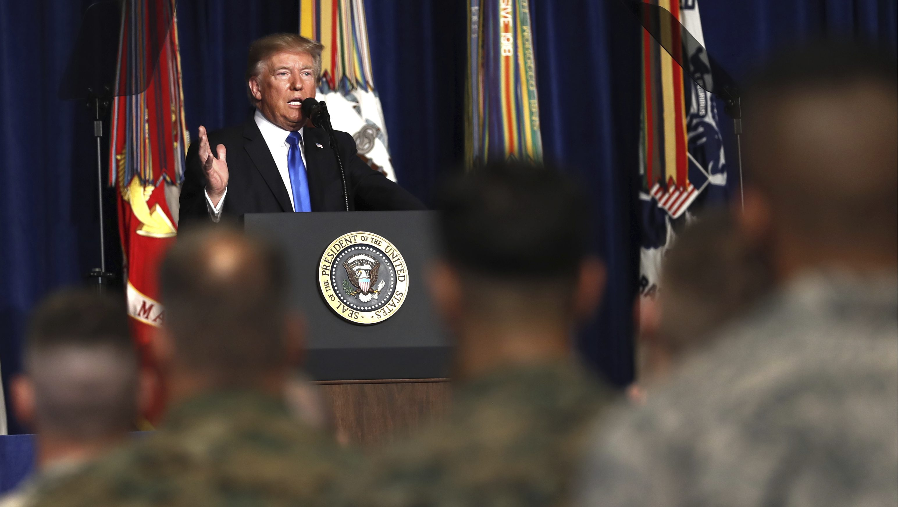 Donald Trump speaks at Fort Myer in Arlington Va., Monday, Aug. 21, 2017.