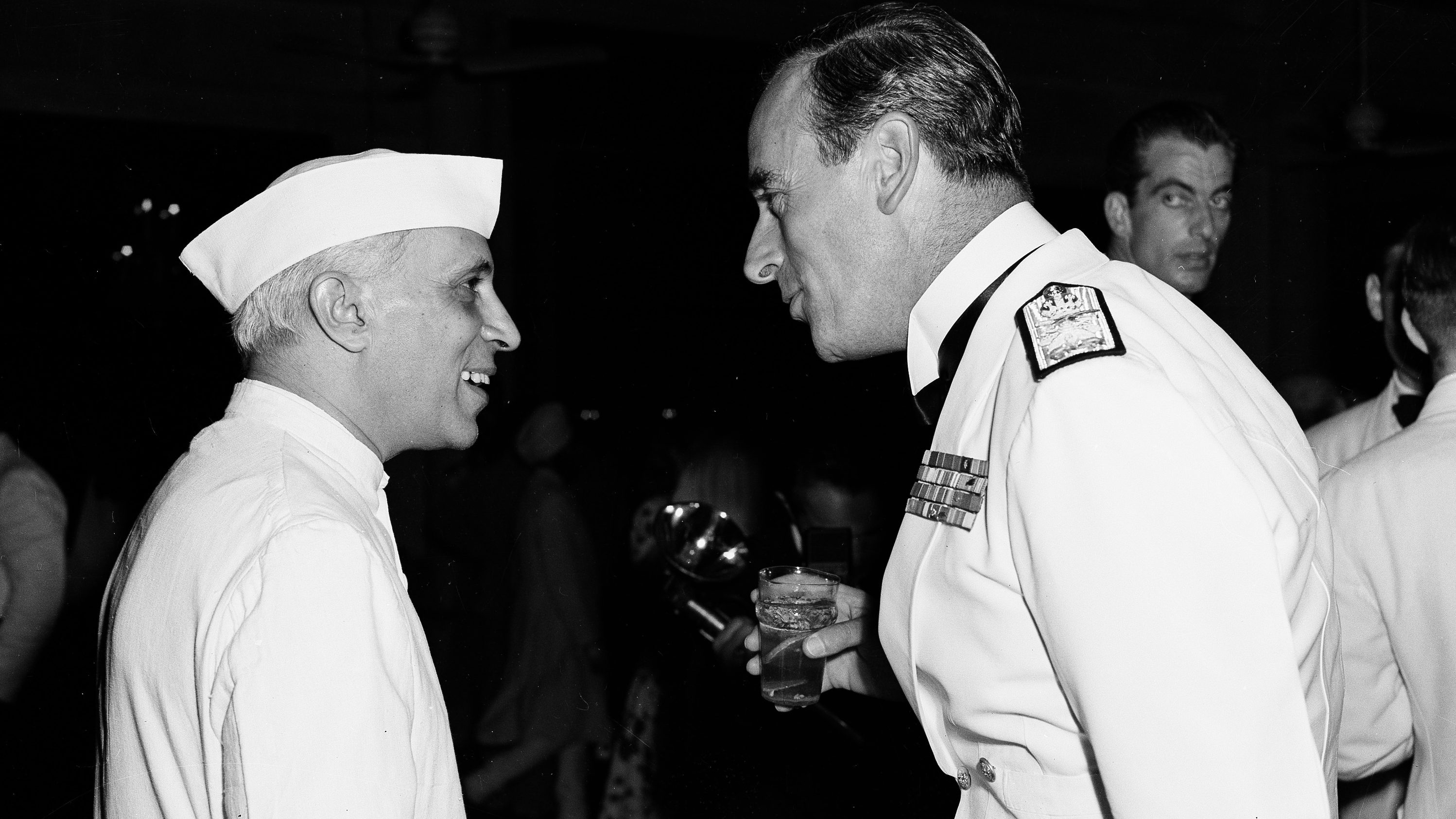 Jawaharlal Nehru, left, and British Viceroy, Lord Louis Mountbatten, are shown at the Viceroy's independence day party for Americans in New Delhi, India, July 4, 1947.