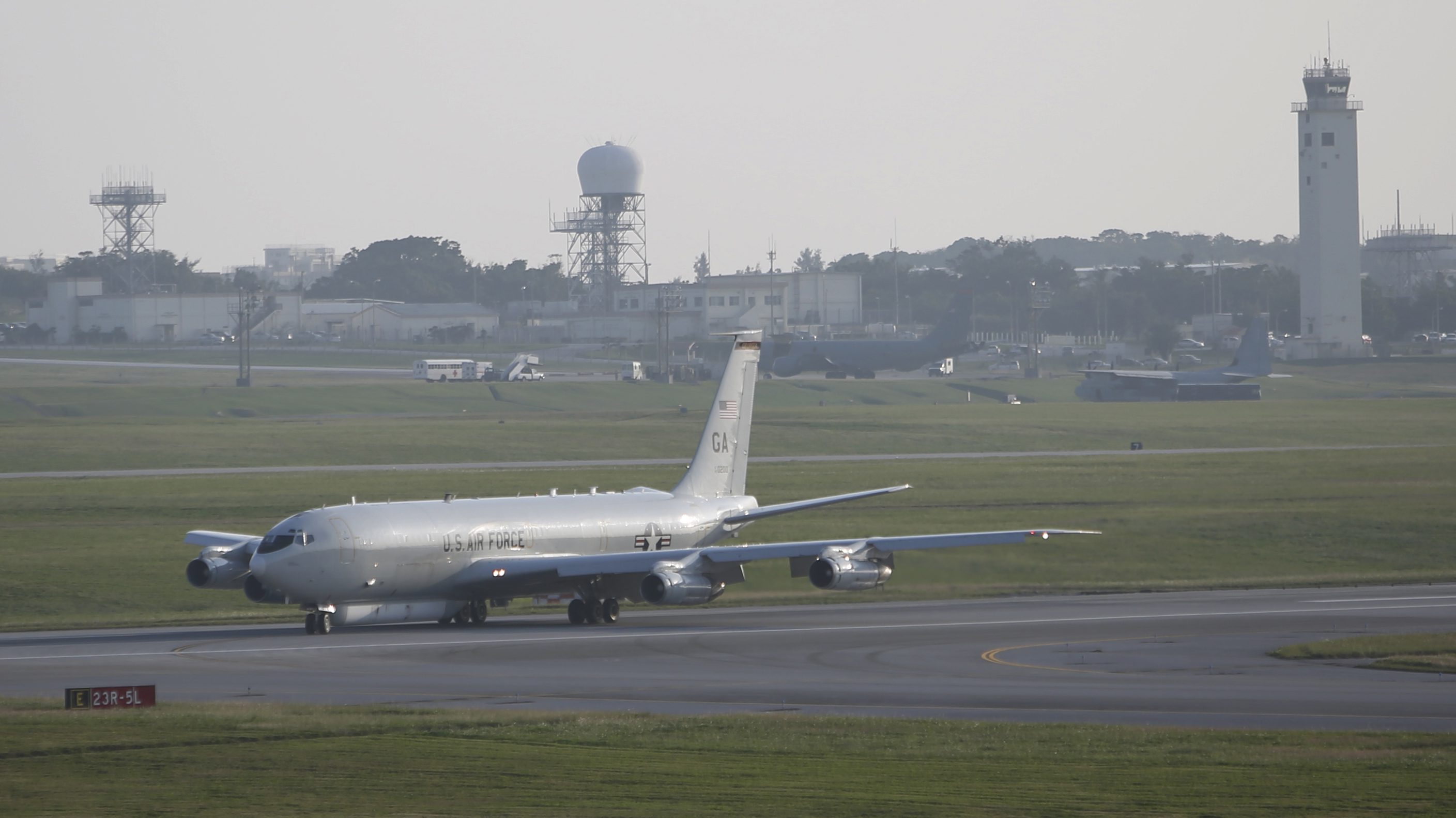 A U.S. Air Force E-8C Joint Surveillance Target Attack Radar System (STARS) returns to Kadena Air Base in Okinawa, southwestern Japan, Thursday, Jan. 7, 2016. North Korea said Wednesday it had conducted a hydrogen bomb test, a defiant and surprising move that, if confirmed, would put Pyongyang a big step closer toward improving its still-limited nuclear arsenal. (AP Photo/Koji Ueda)