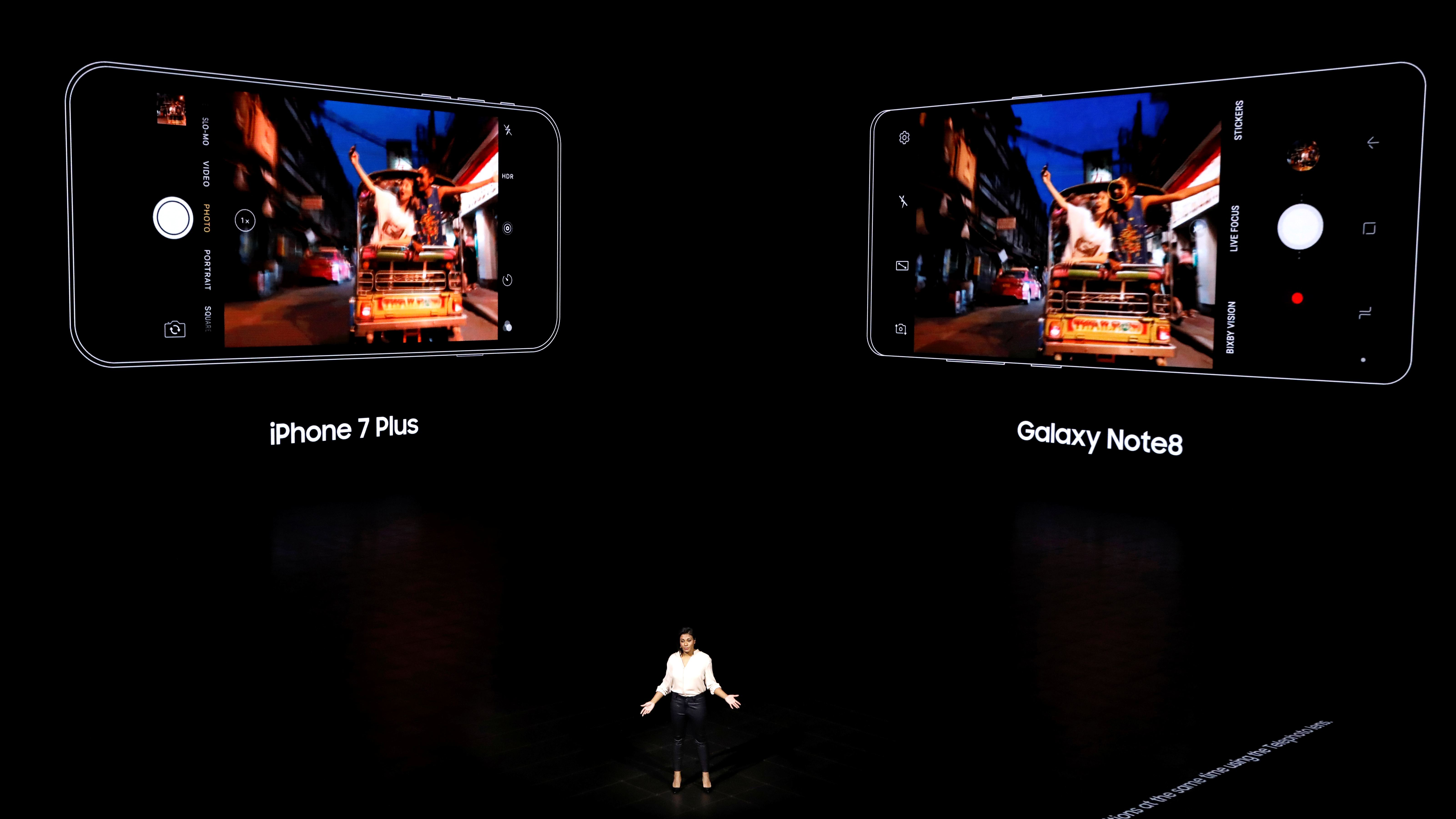 Suzanne De Silva, Samsung Electronics Mobile Communications Director of Product Strategy introduces the Galaxy Note 8 smartphone during a launch event in New York City, U.S., August 23, 2017. REUTERS/Brendan McDermid - RTS1D063
