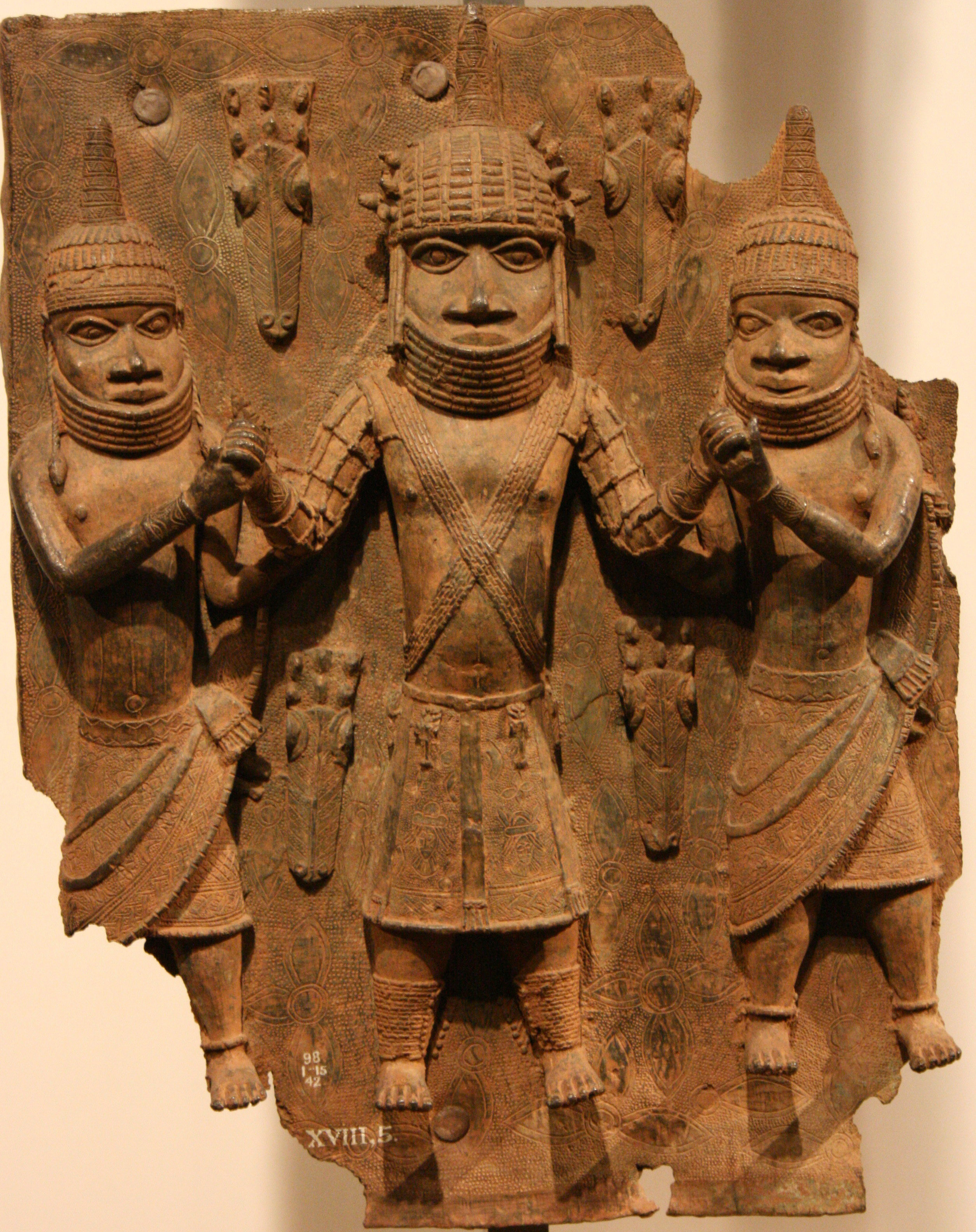 Benin bronze plaque estimated to date back to the 16th century. (Commons/Michel Wal).