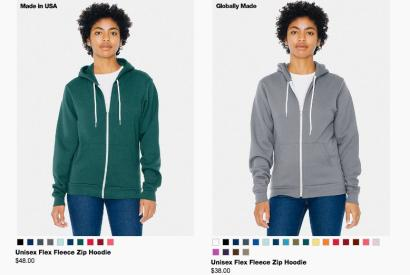 """87190183 American Apparel is testing shoppers with identical """"Made in America"""" vs.  foreign-made clothes"""