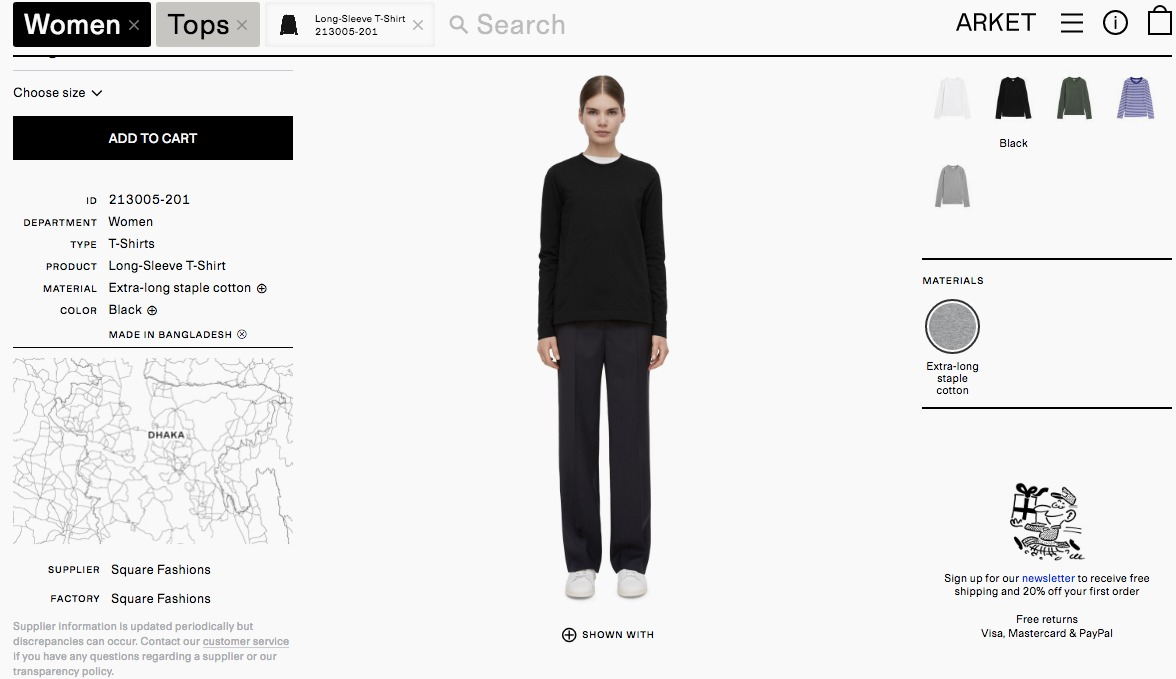 H&M's new brand, Arket, lists the factories that make its clothes