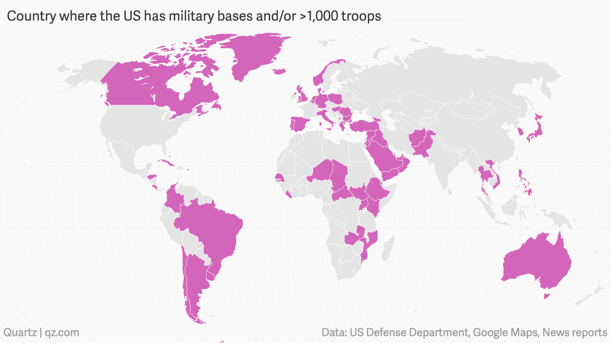 Where Does The Us Military Have Bases In The World Quartz