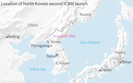 The surprise location of North Korea's latest missile test is making on