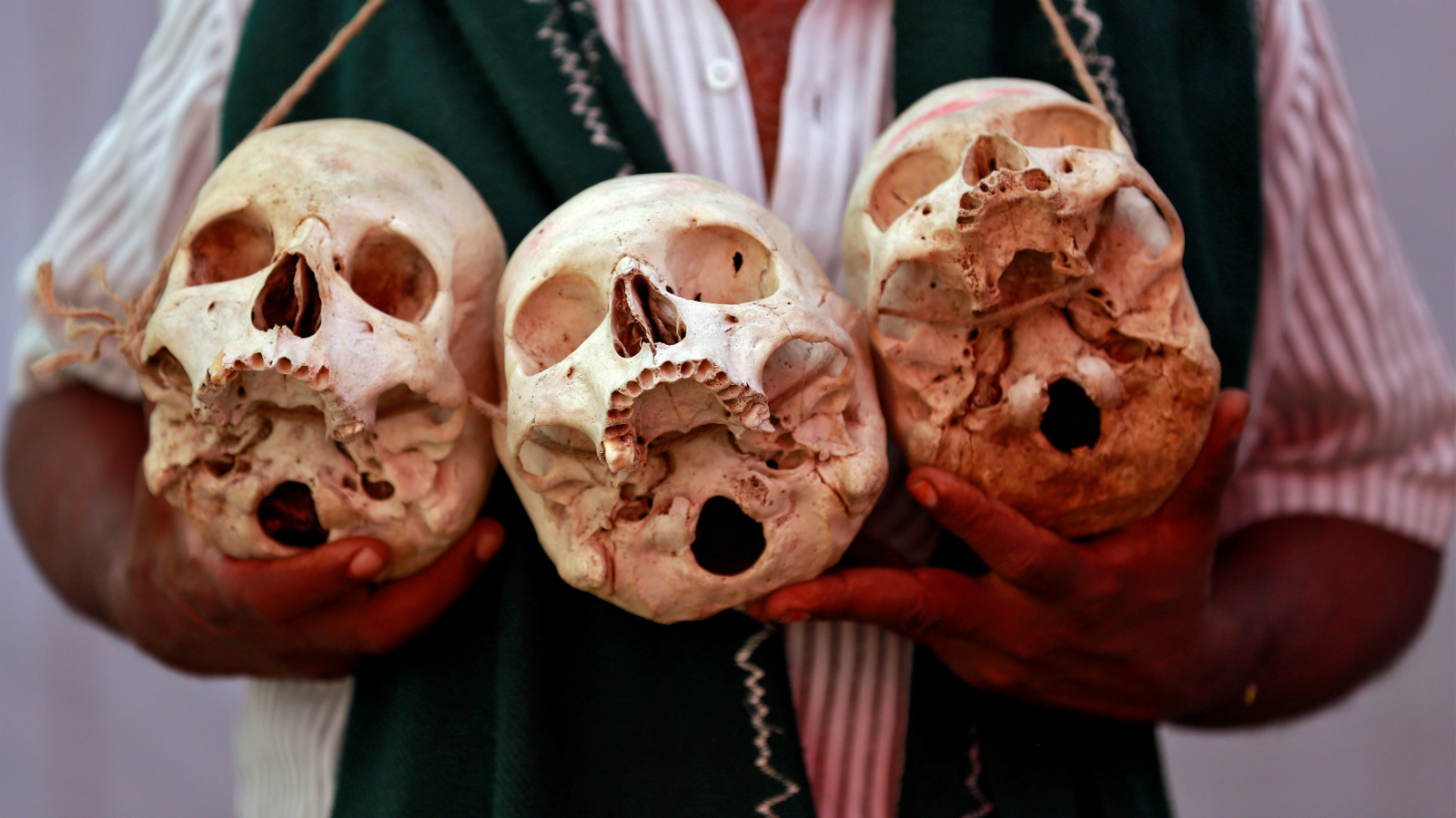 A farmer from the southern state of Tamil Nadu displays skulls, who he claims are the remains of Tamil farmers who have committed suicide, during a protest demanding a drought-relief package from the federal government, in New Delhi, India March 22, 2017.