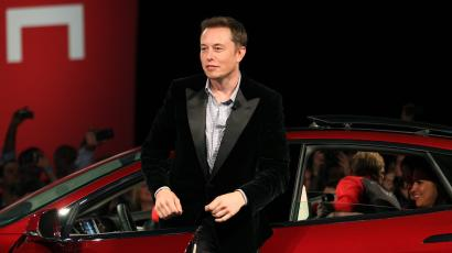 Tesla Motors Ceo Elon Musk Alights From A Model S Sedan At The Factory In