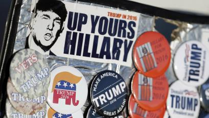 Pro-Trump campaign buttons and stickers